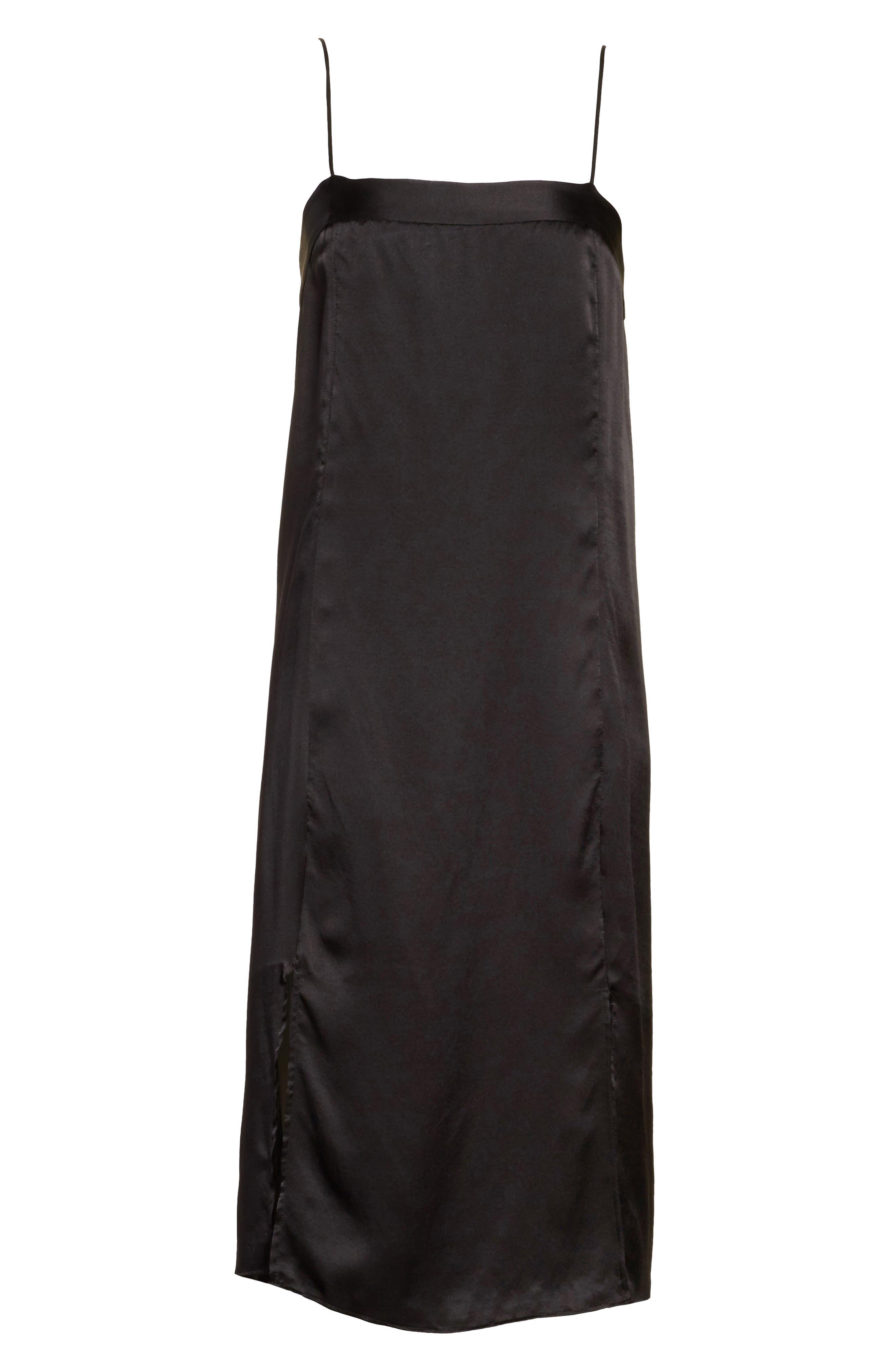 Kelby Silk Slipdress,                             Alternate thumbnail 6, color,                             True Black