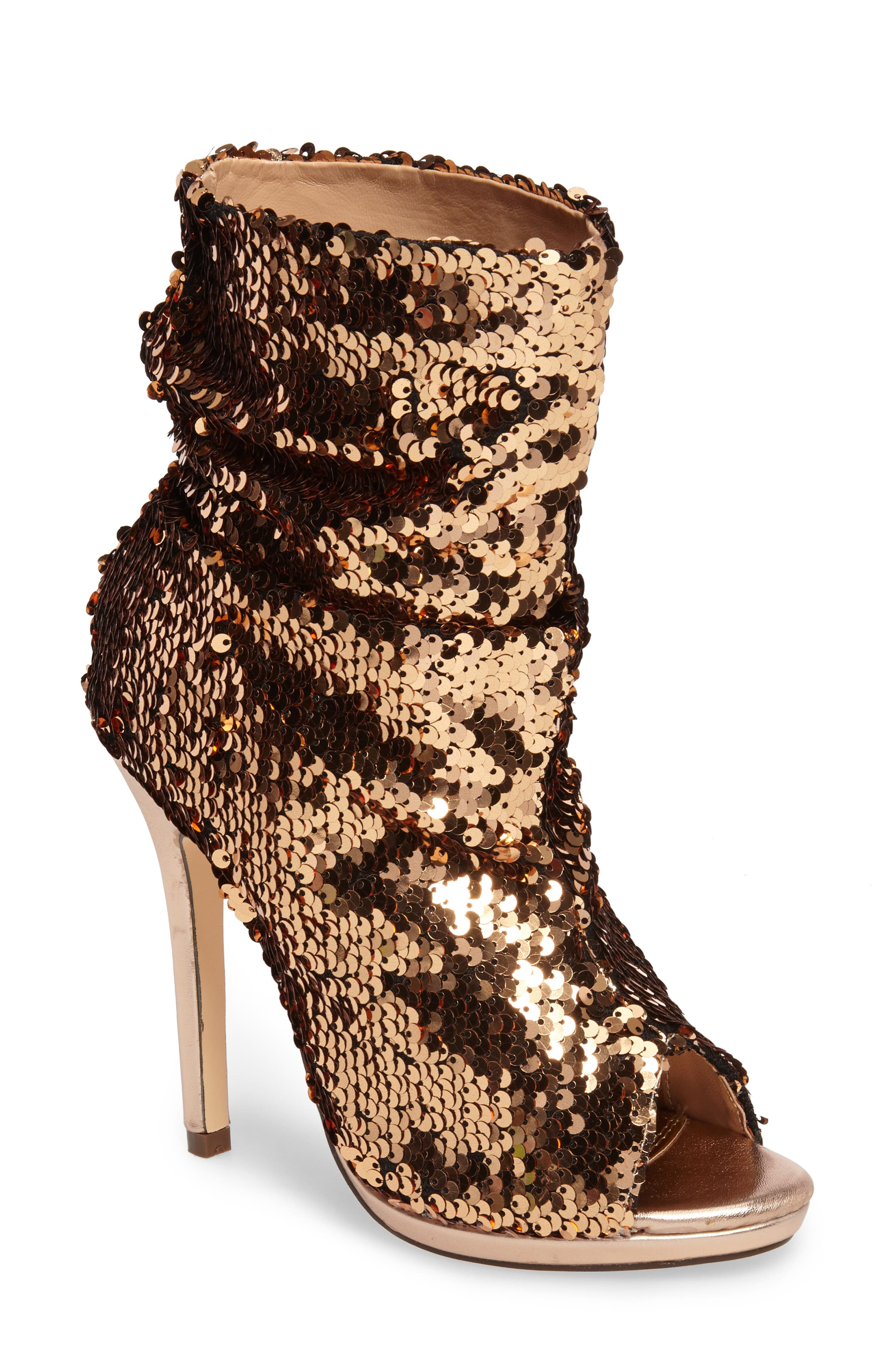 Marlow Sequin Slouch Bootie,                             Main thumbnail 1, color,                             Rose Gold