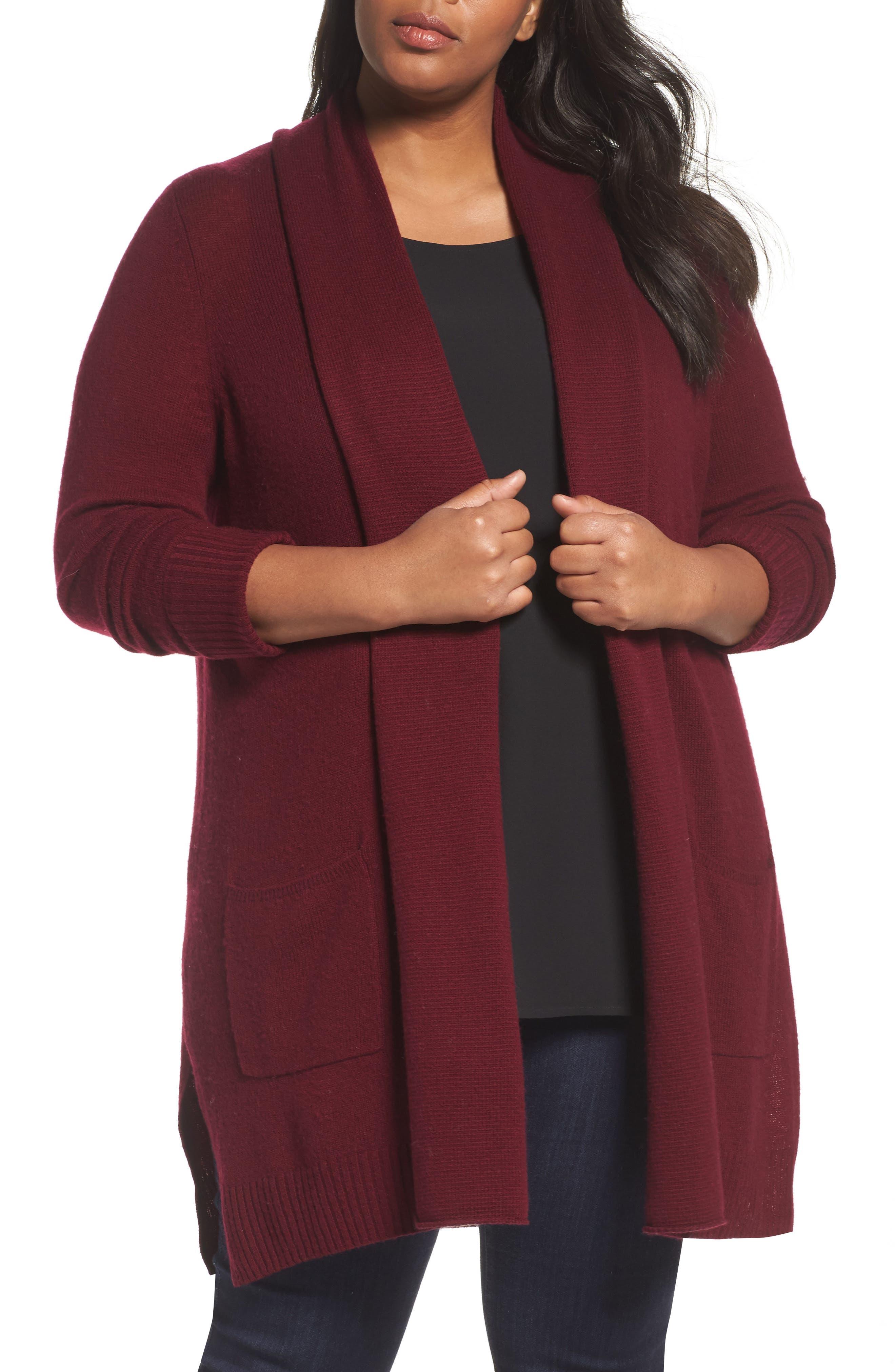 Pocket Cardigan,                         Main,                         color, Burgundy Stem