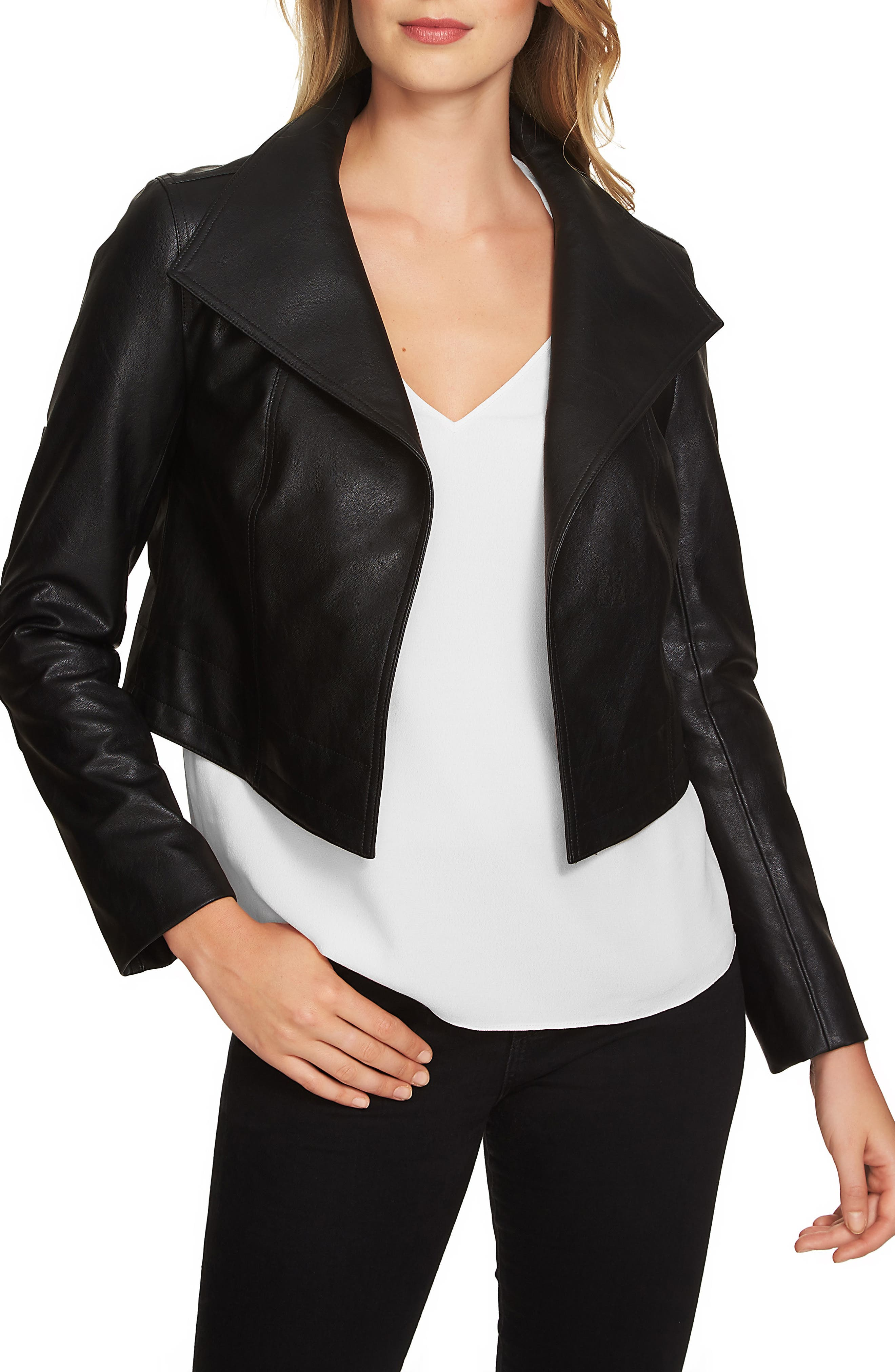 1.STATE Crop Faux Leather Jacket