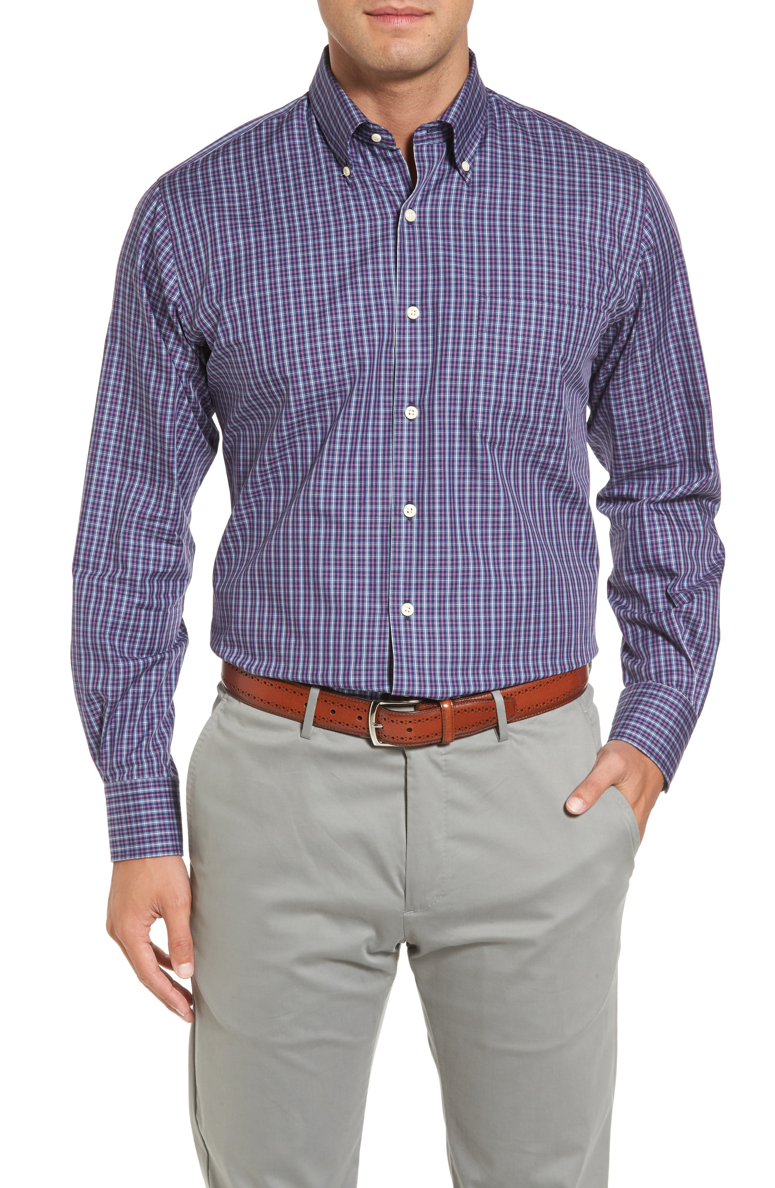 Hillock Regular Fit Plaid Sport Shirt,                         Main,                         color, Moon Blue