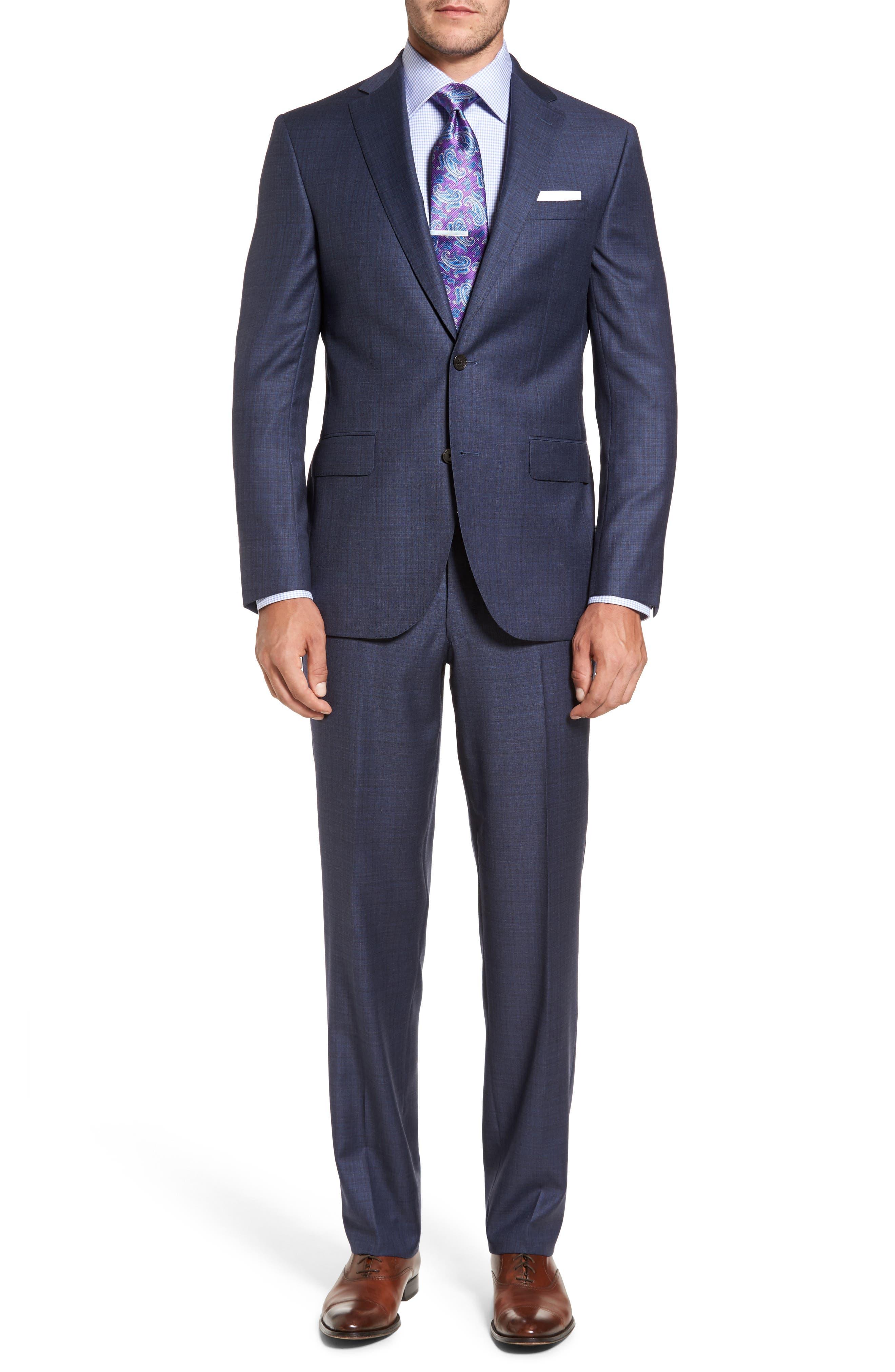 Ryan Classic Fit Check Wool Suit,                         Main,                         color, Medium Blue