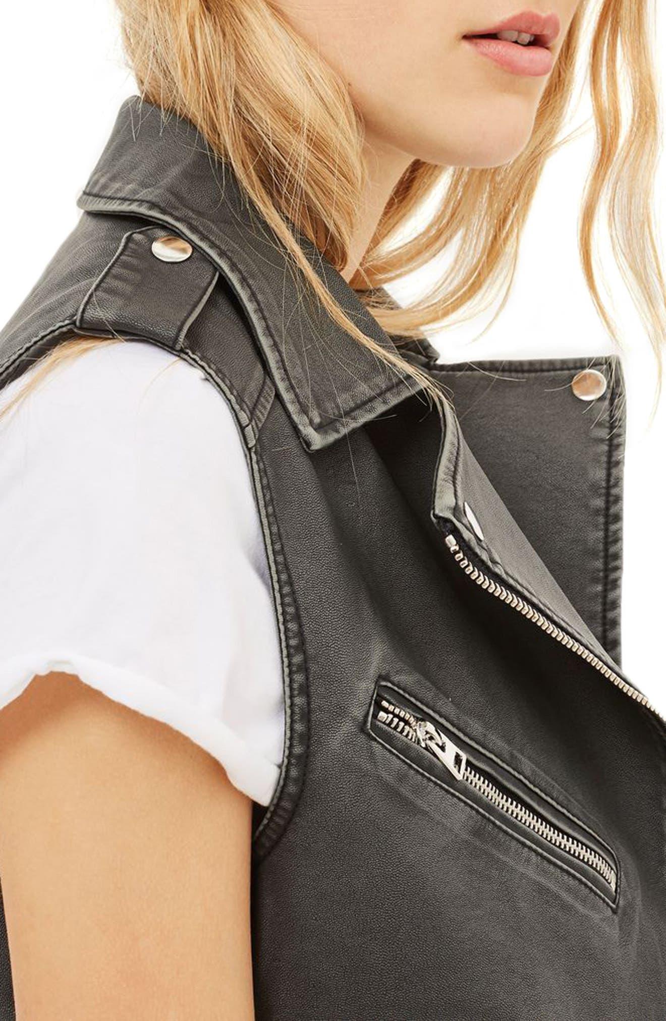 Blaze Faux Leather Biker Vest,                             Alternate thumbnail 4, color,                             Washed Black