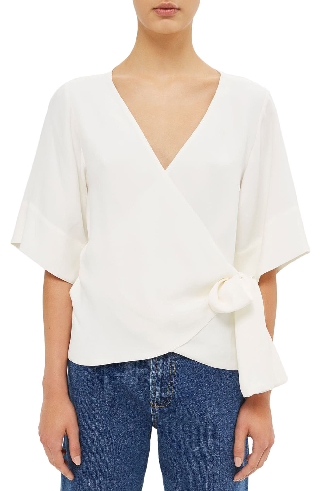 Crepe Wrap Top,                         Main,                         color, Ivory