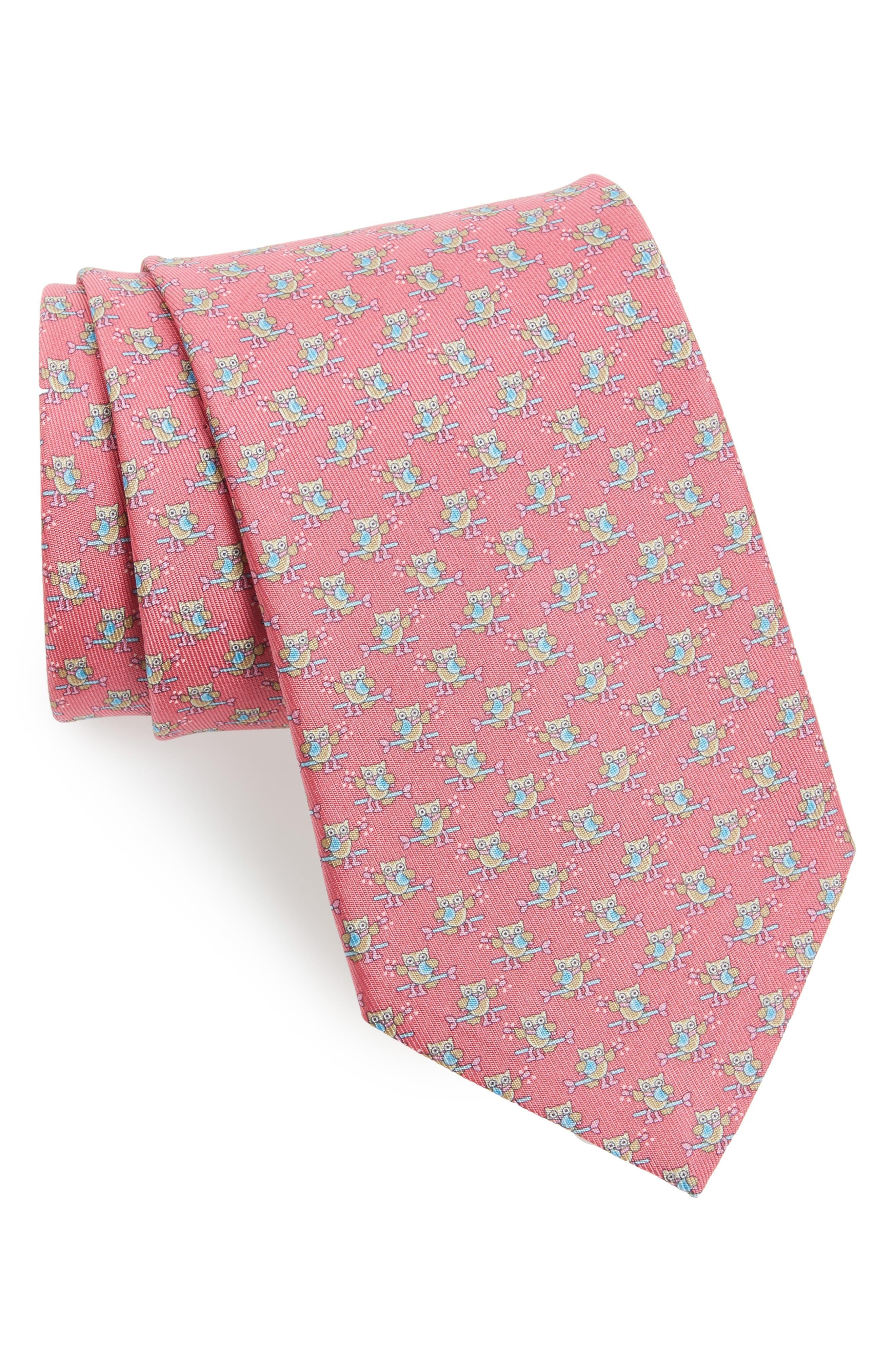 Owl Print Silk Tie,                         Main,                         color, Pink