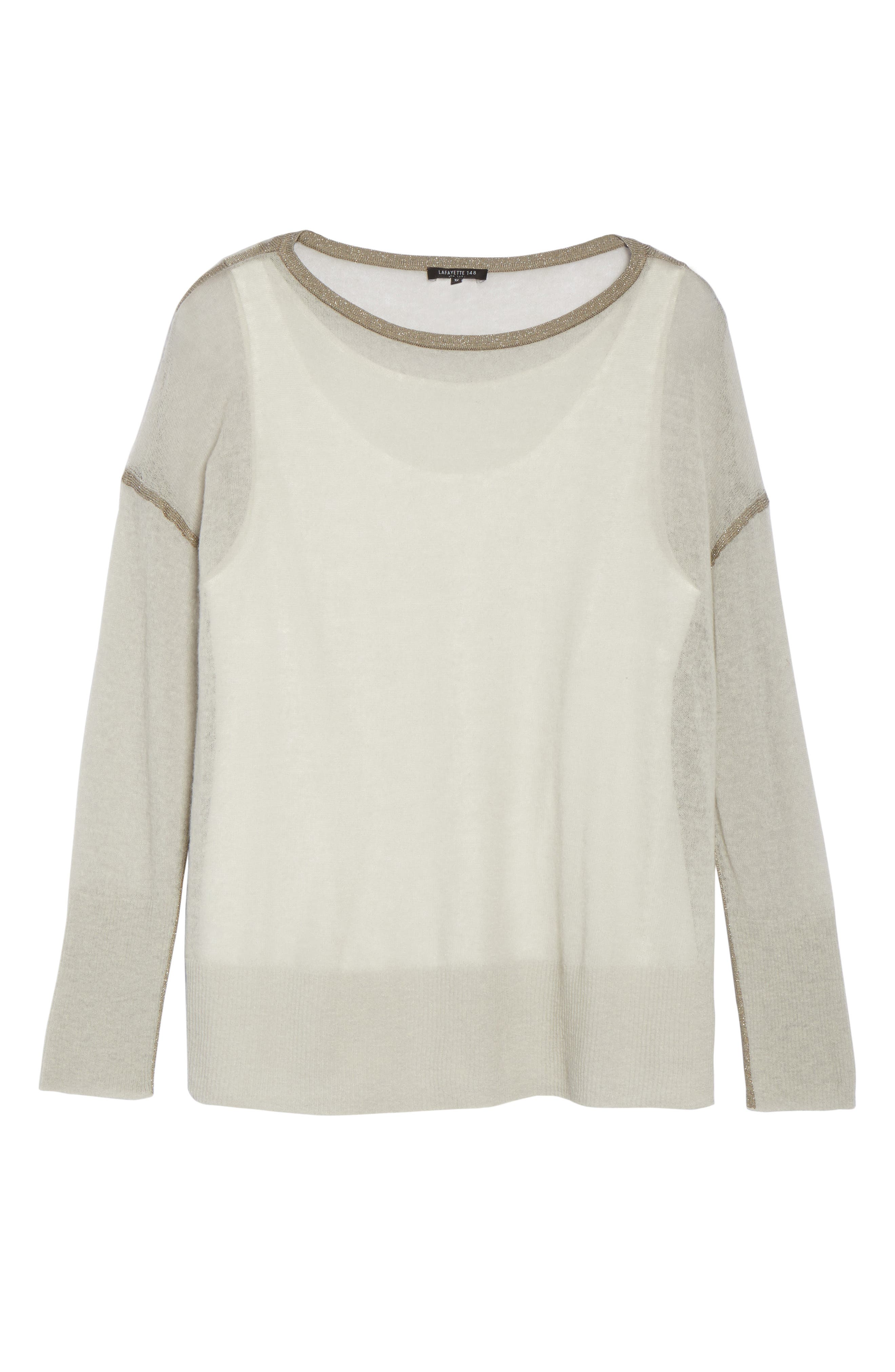 Alternate Image 6  - Lafayette 148 New York Shimmer Trim Sweater with Tank (Plus Size)