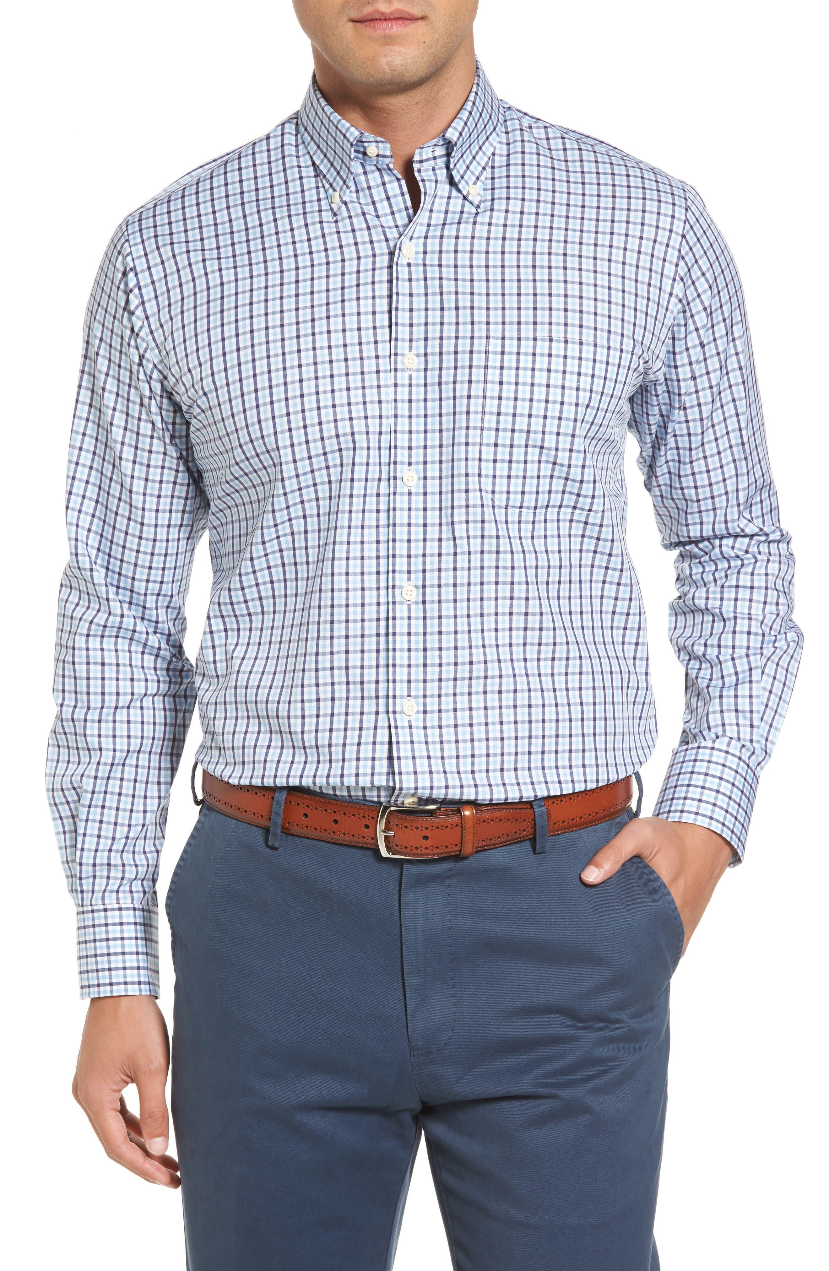 Adams Check Sport Shirt,                             Main thumbnail 1, color,                             Star Fall