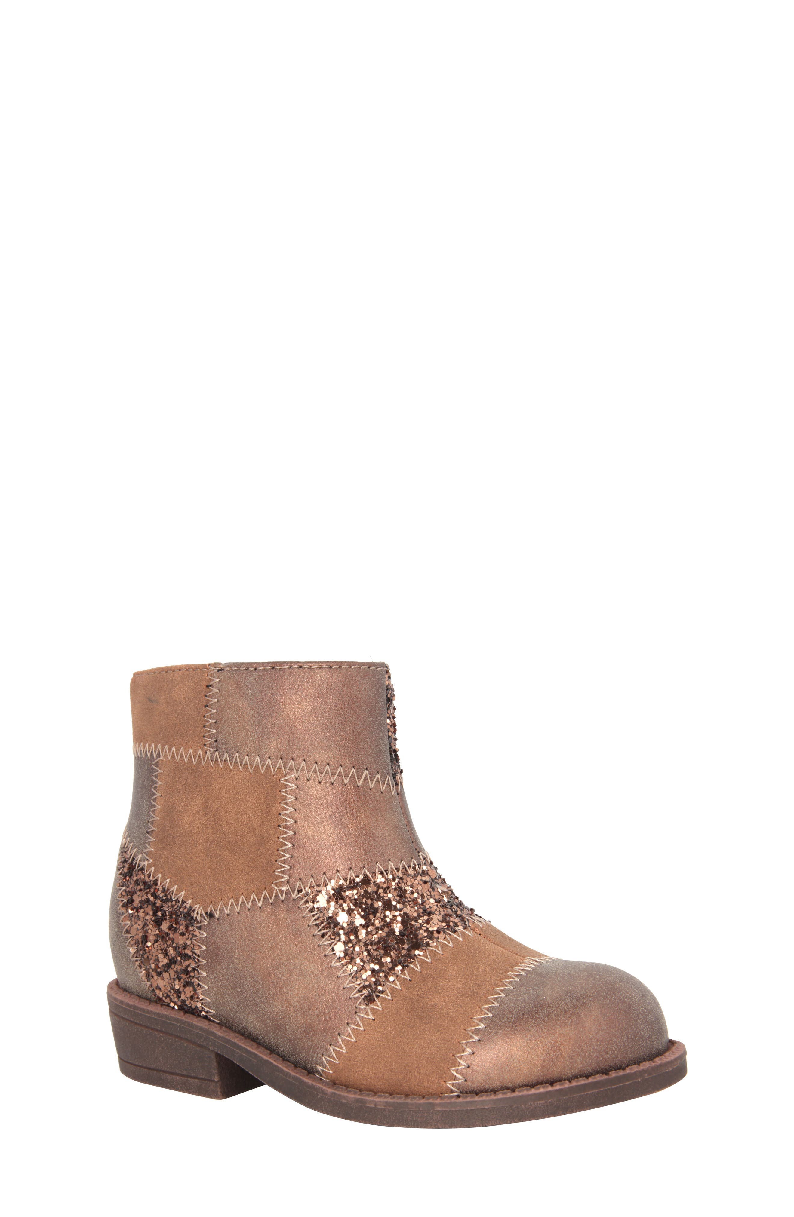 Alternate Image 1 Selected - Nina Ines Glittery Patchwork Bootie (Walker, Toddler, Little Kid & Big Kid)