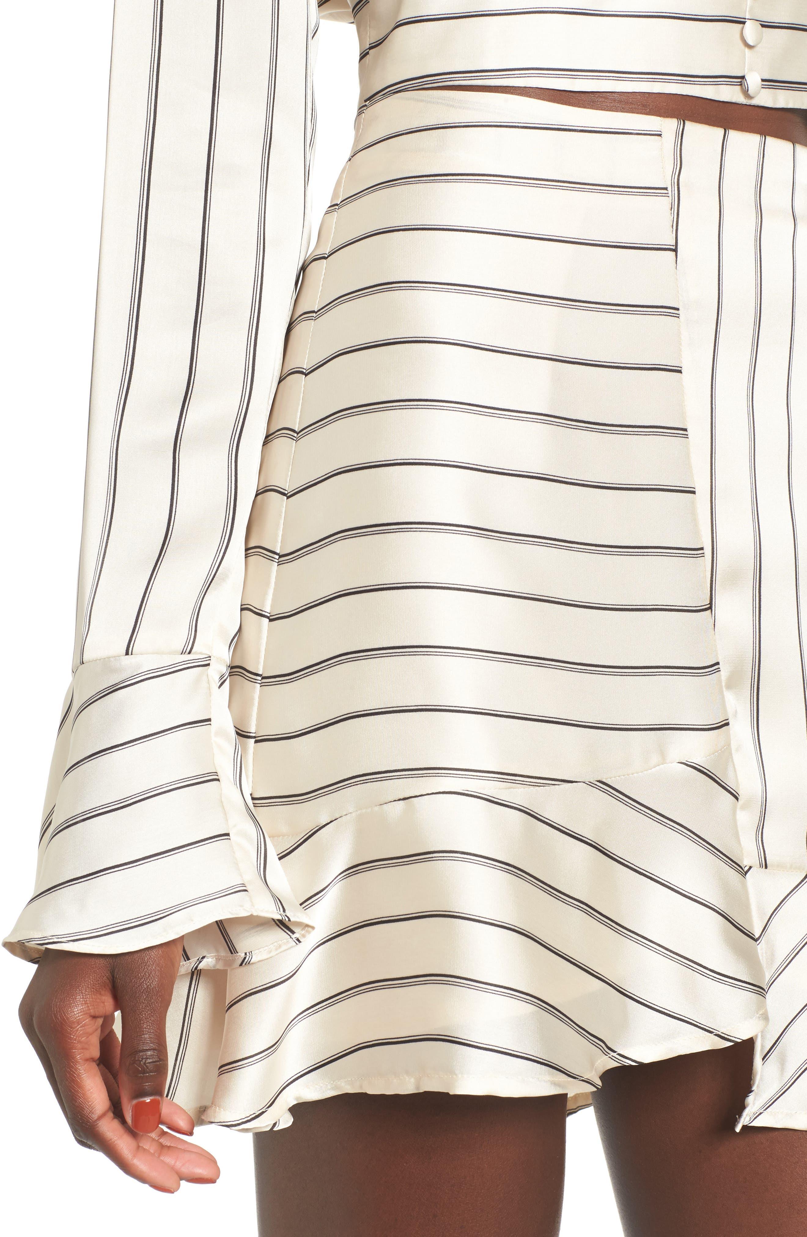 Alternate Image 4  - J.O.A. Ruffle Pinstripe Skirt