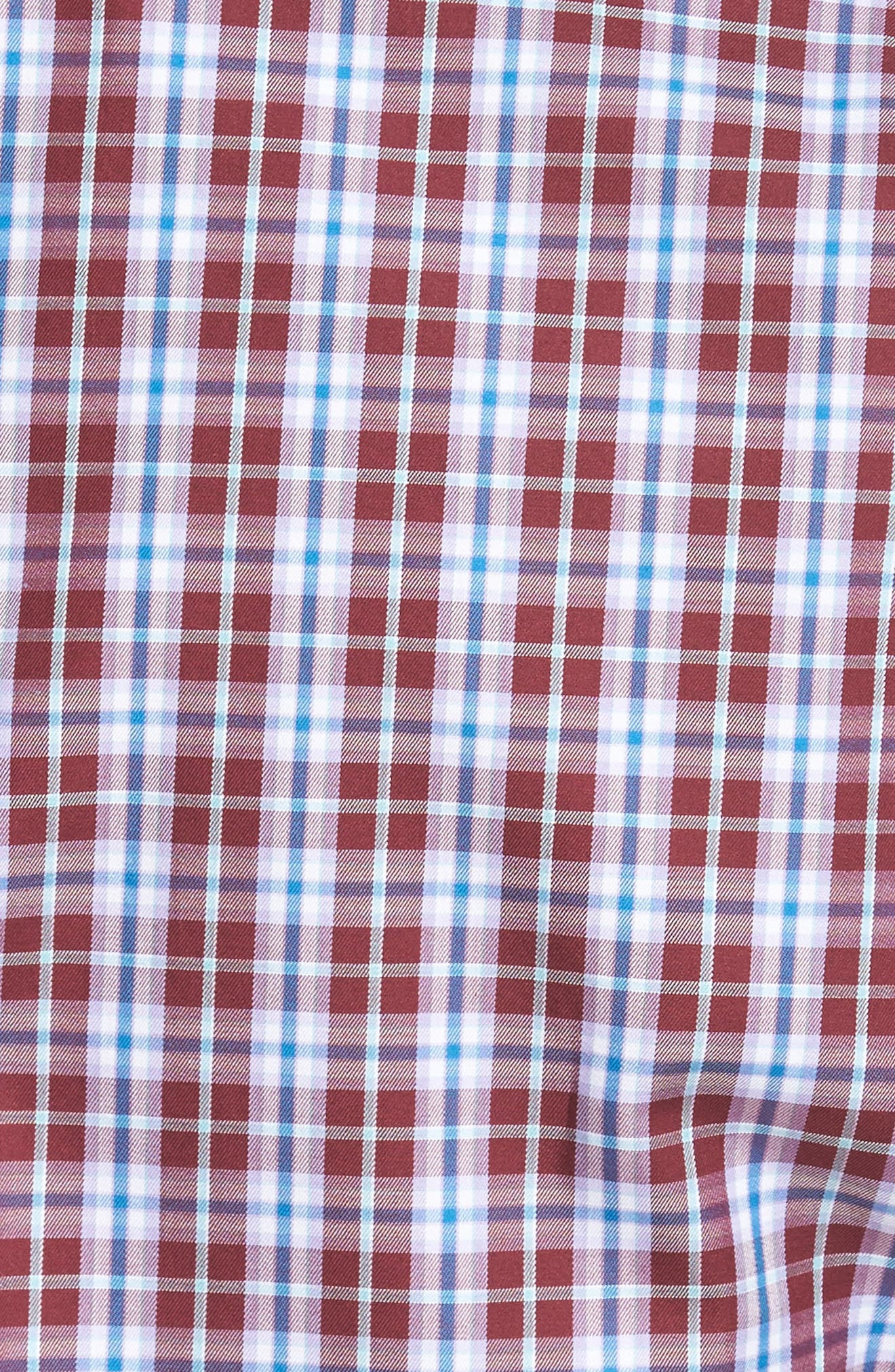 Mitchell Plaid Sport Shirt,                             Alternate thumbnail 5, color,                             French Wine