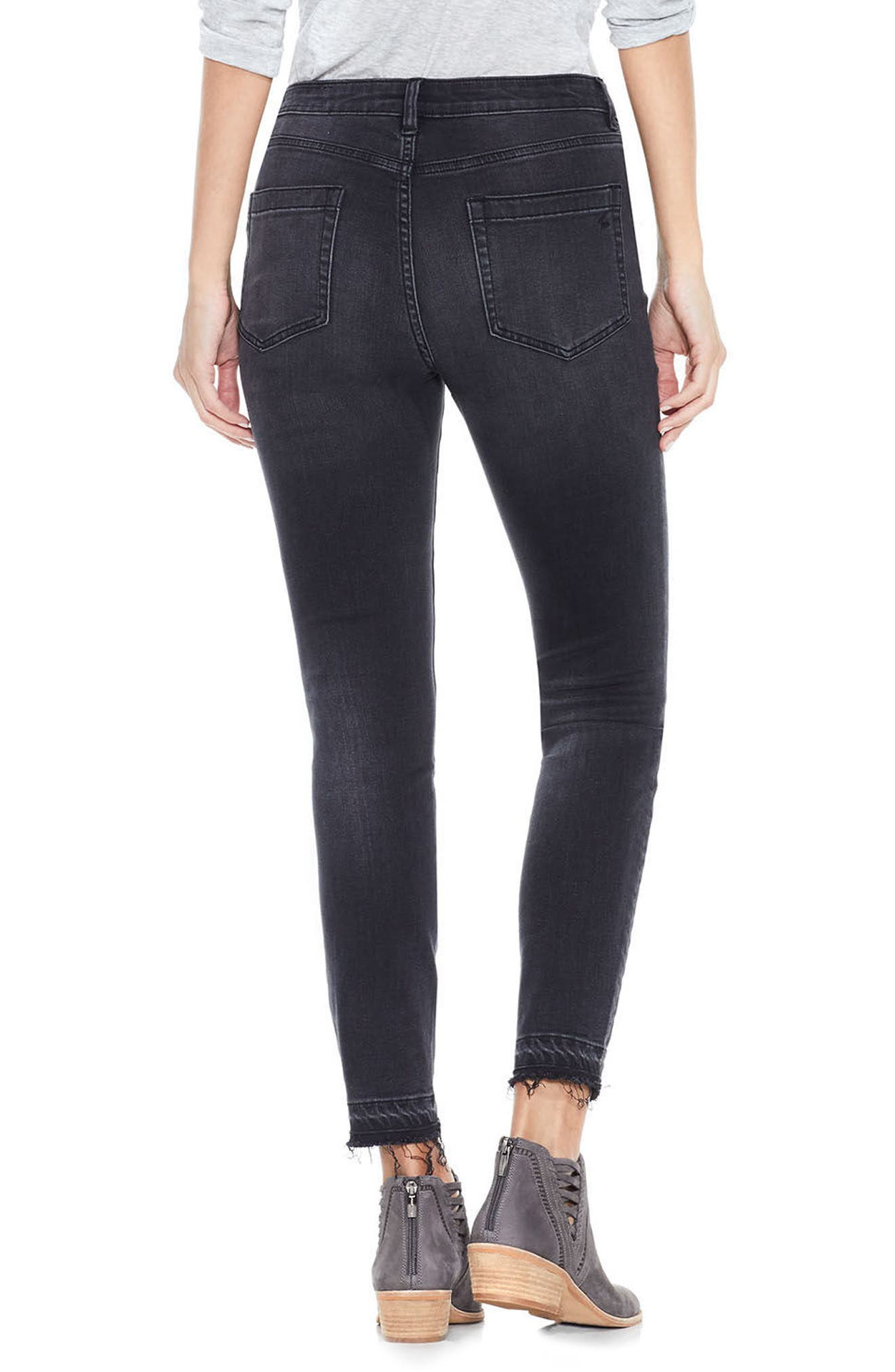 Alternate Image 3  - Two by Vince Camuto Release Hem Ankle Jeans (Coal)