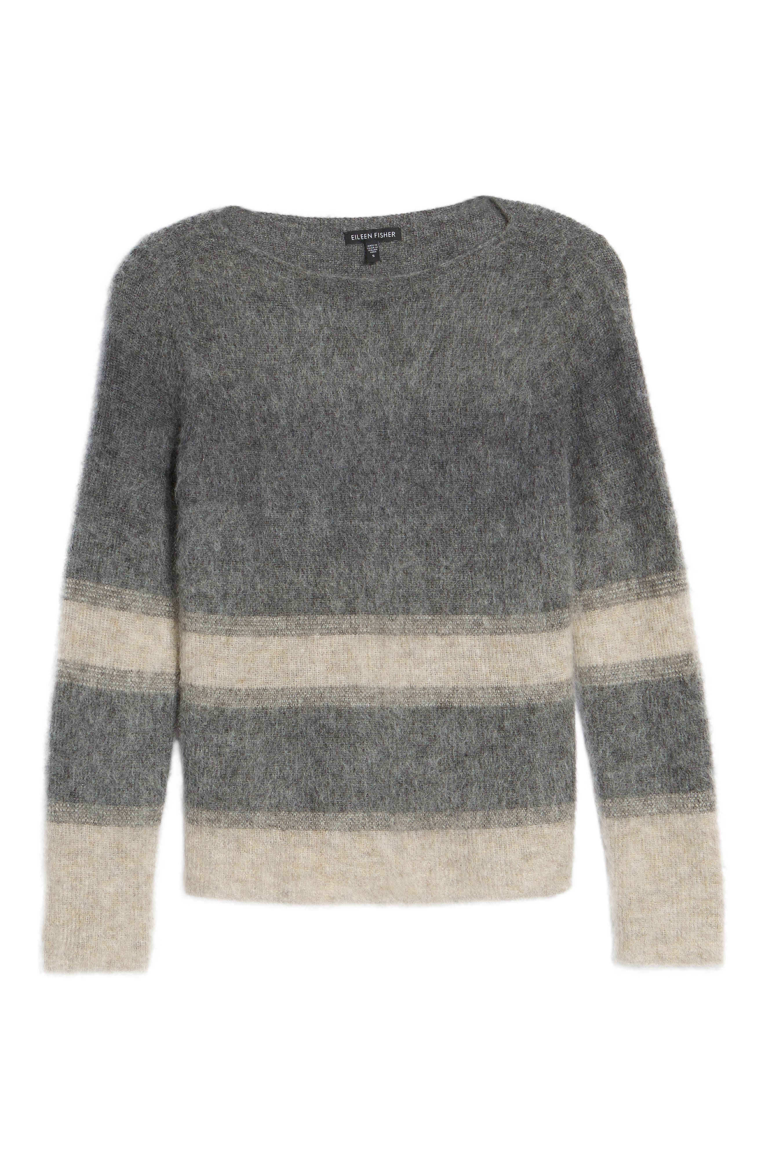 Alternate Image 6  - Eileen Fisher Stripe Mohair & Alpaca Blend Bateau Neck Sweater