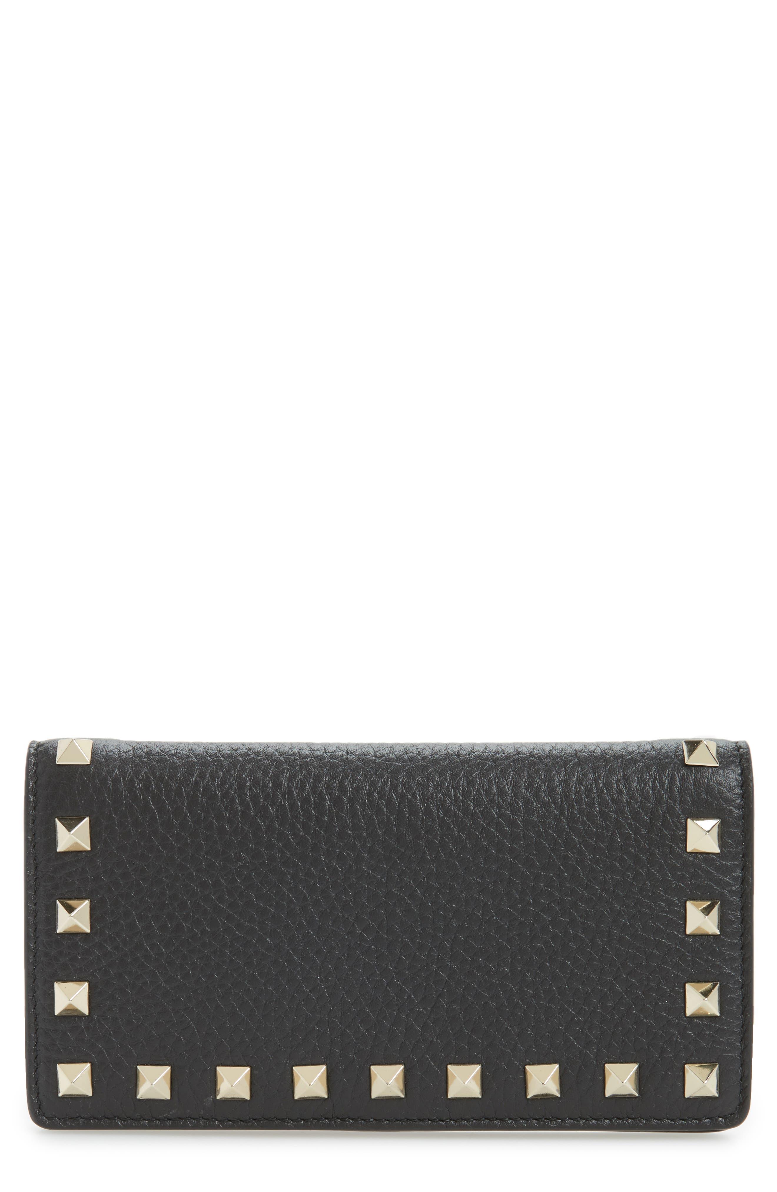 Rockstud Calfskin Leather Wallet,                         Main,                         color, Nero