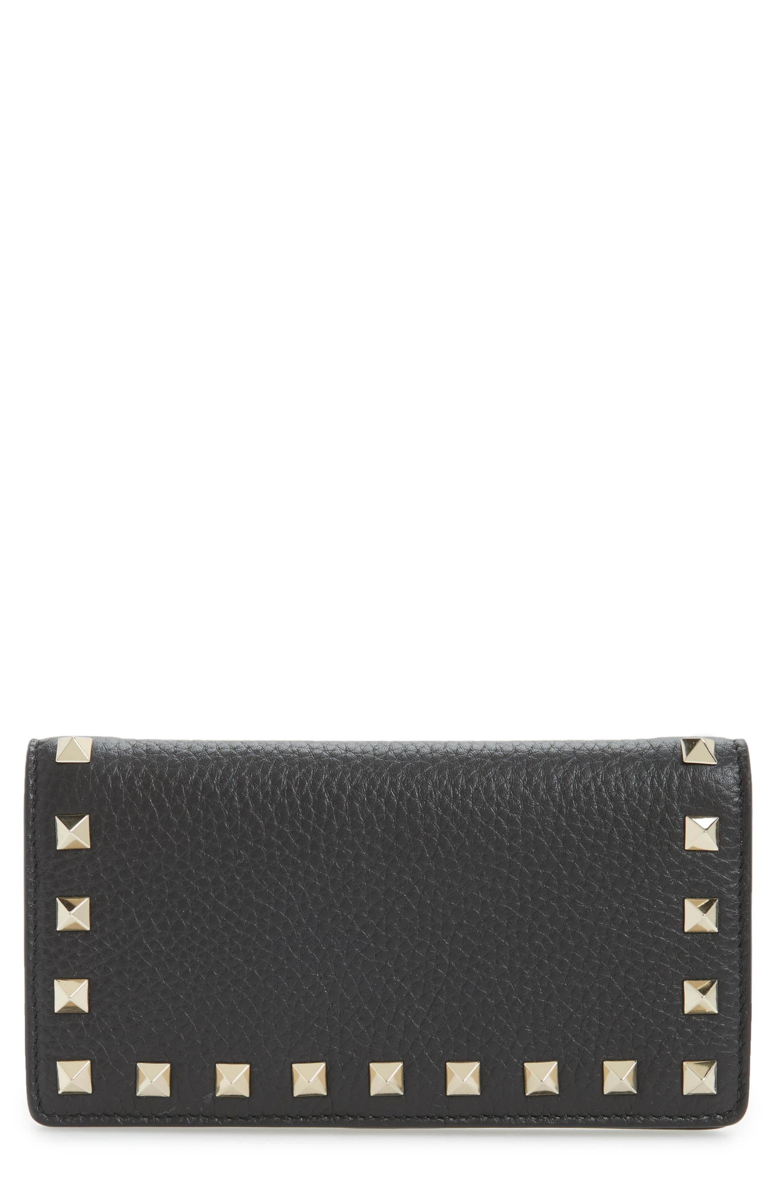 Rockstud Calfskin Leather Wallet,                         Main,                         color, Nero