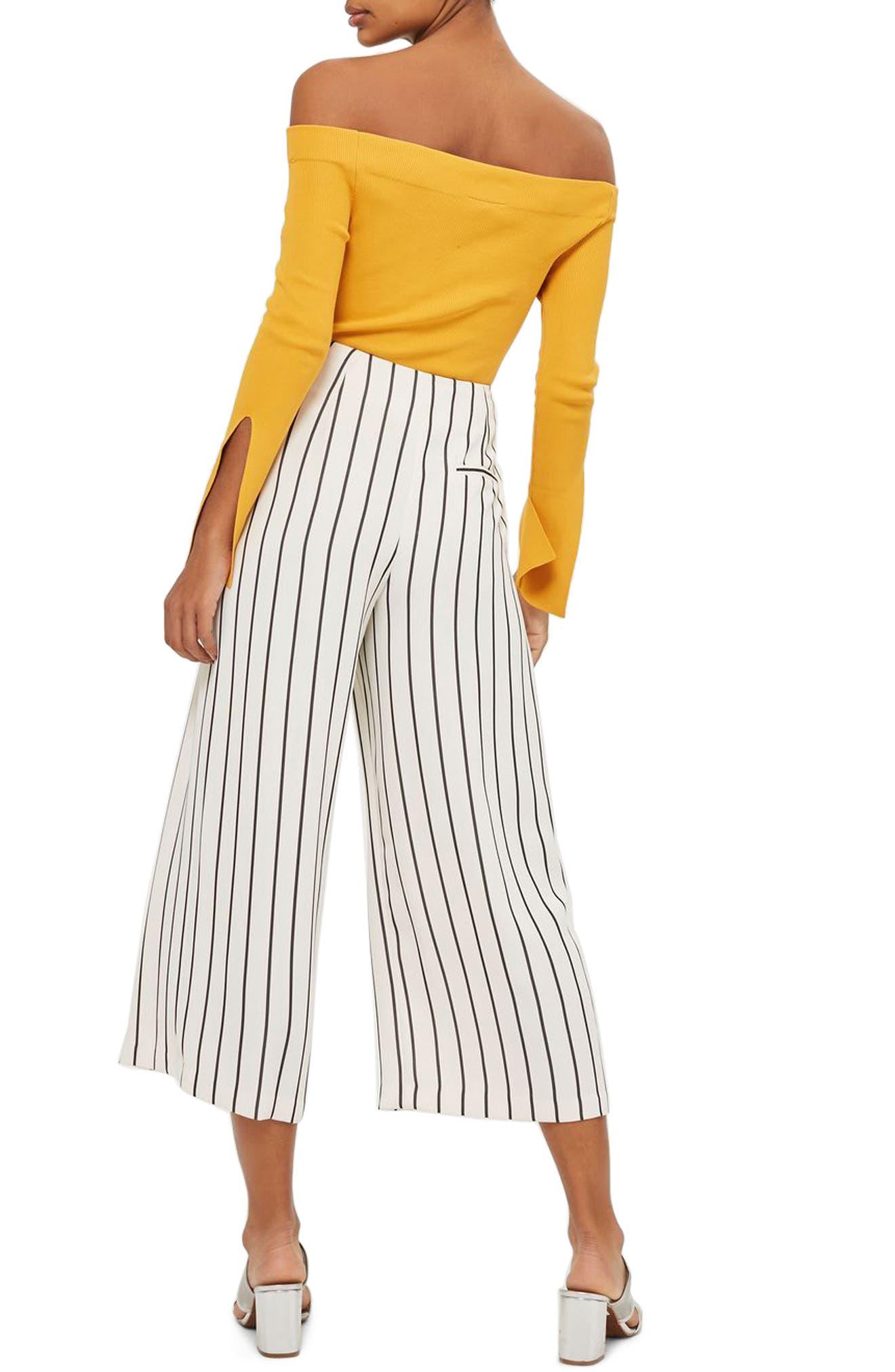 Alternate Image 3  - Topshop Stripe Crop Wide Leg Trousers