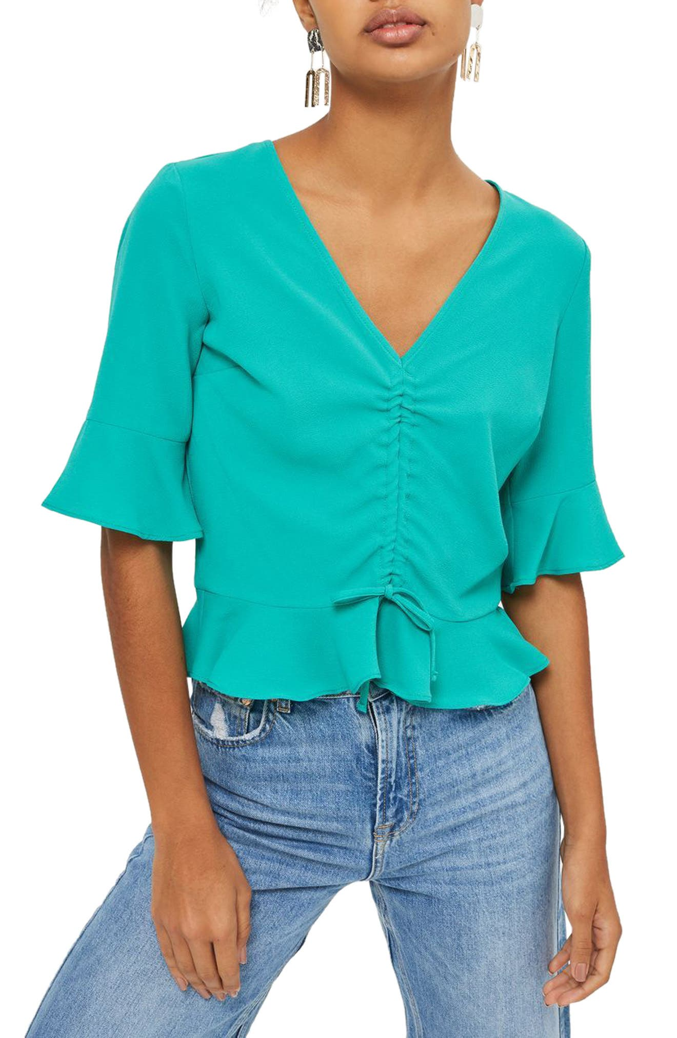 Topshop Ruby Ruched Blouse