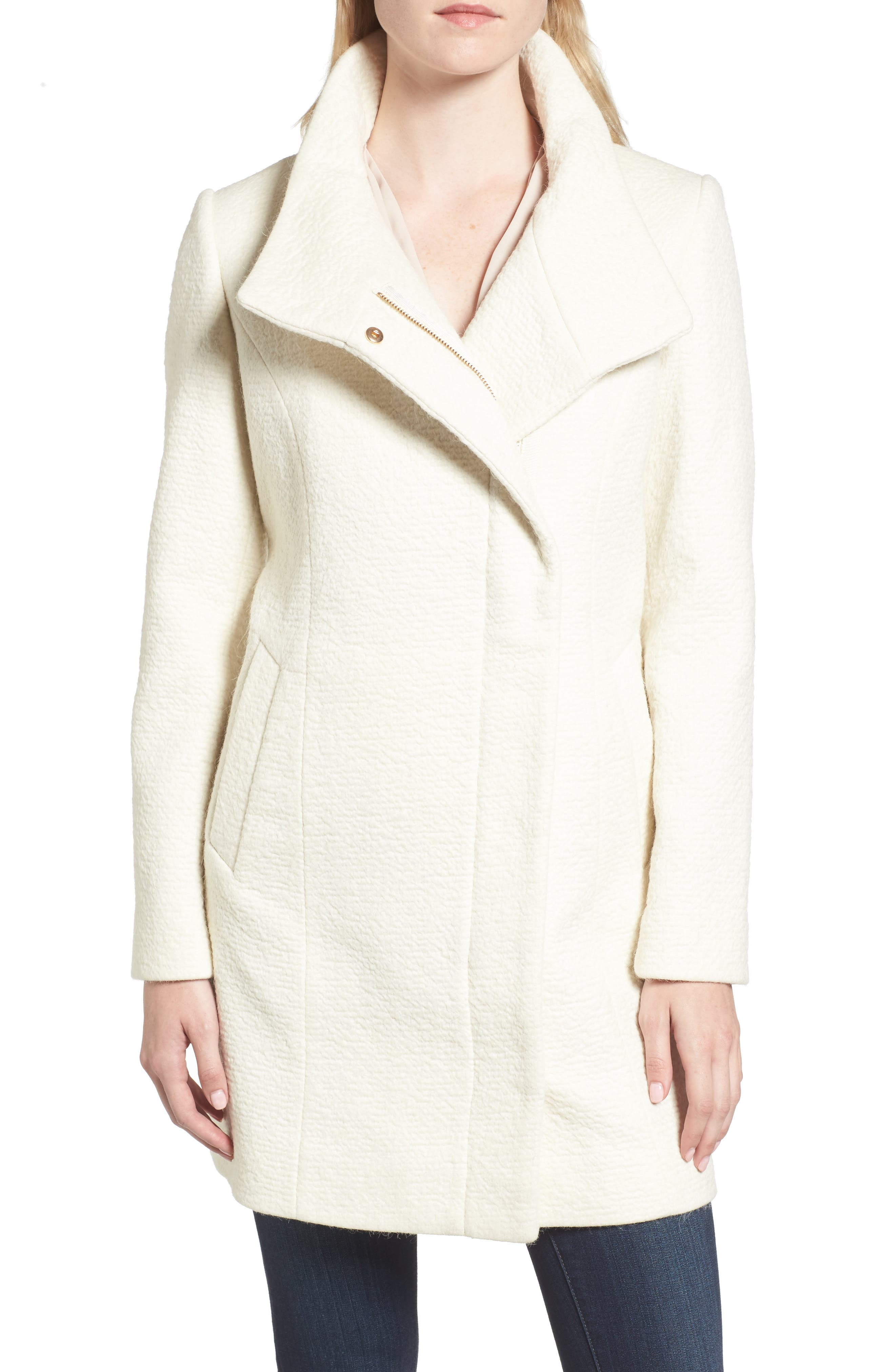 Main Image - Cole Haan Double Breasted Funnel Neck Coat