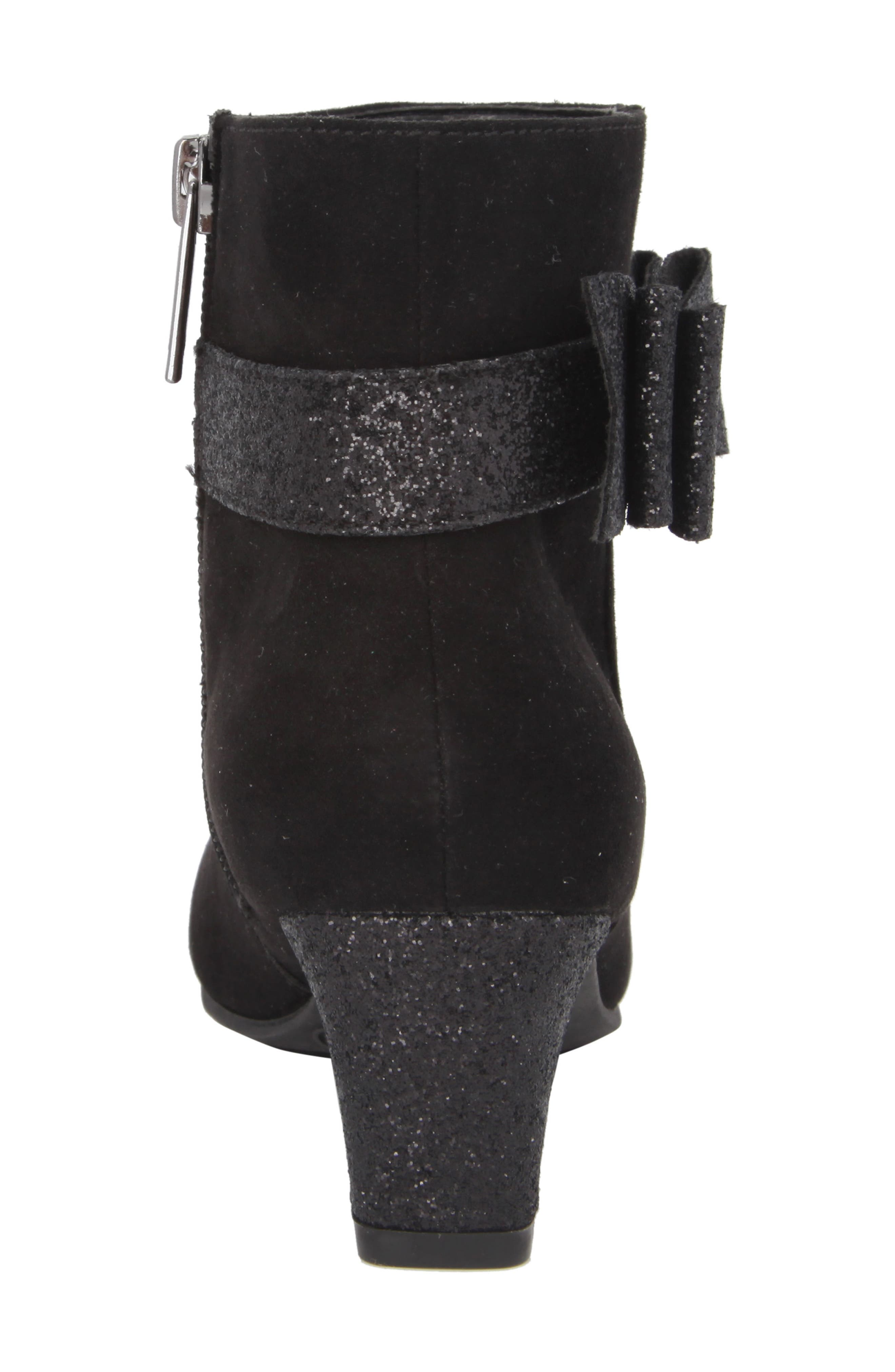 Glitter Bow Bootie,                             Alternate thumbnail 7, color,                             Black Suede/ Glitter
