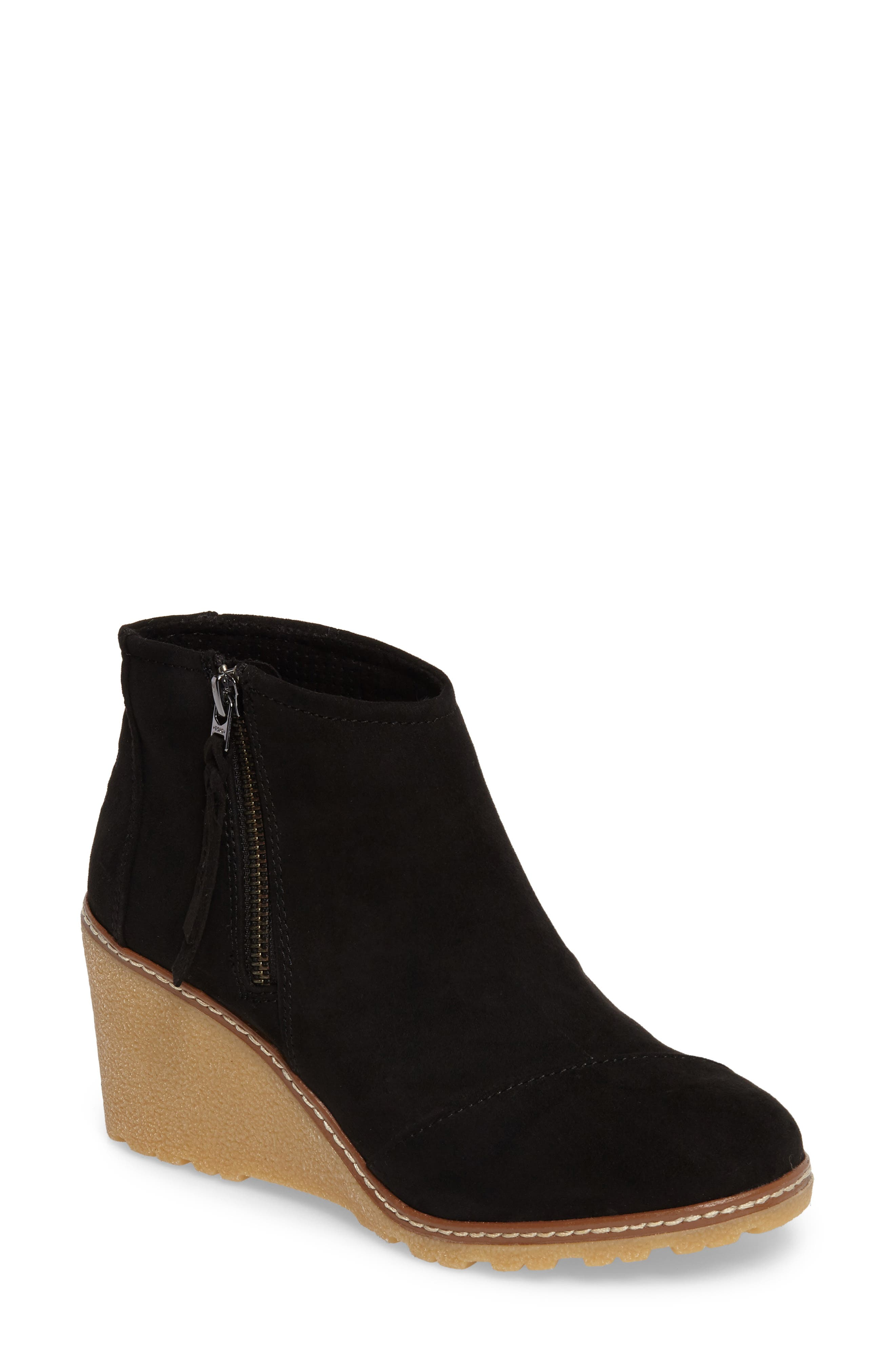 Avery Wedge Bootie,                             Main thumbnail 1, color,                             Black Microfiber
