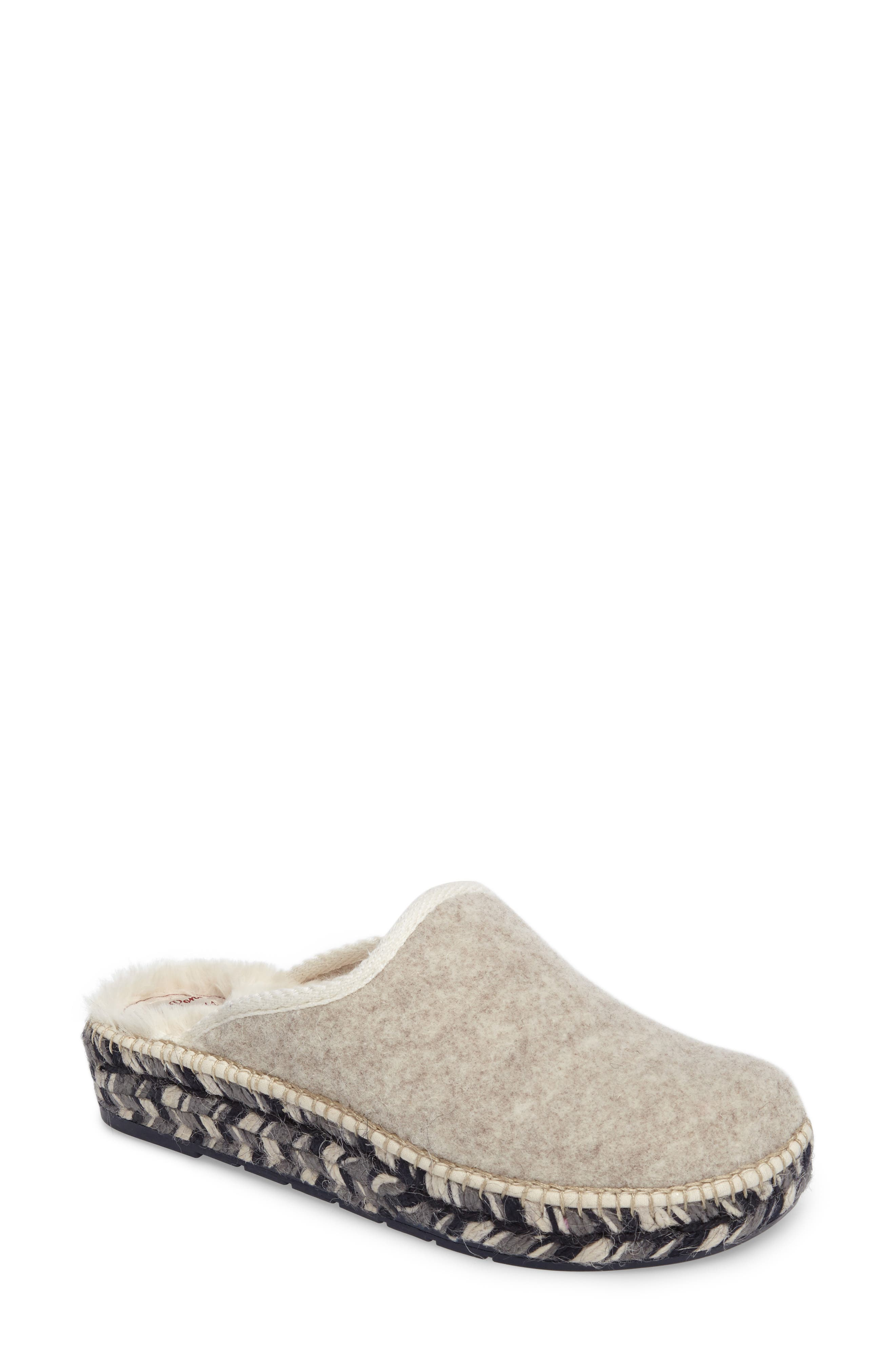 Mysen Faux Fur Lined Espadrille Slipper,                         Main,                         color, Ecru Felt