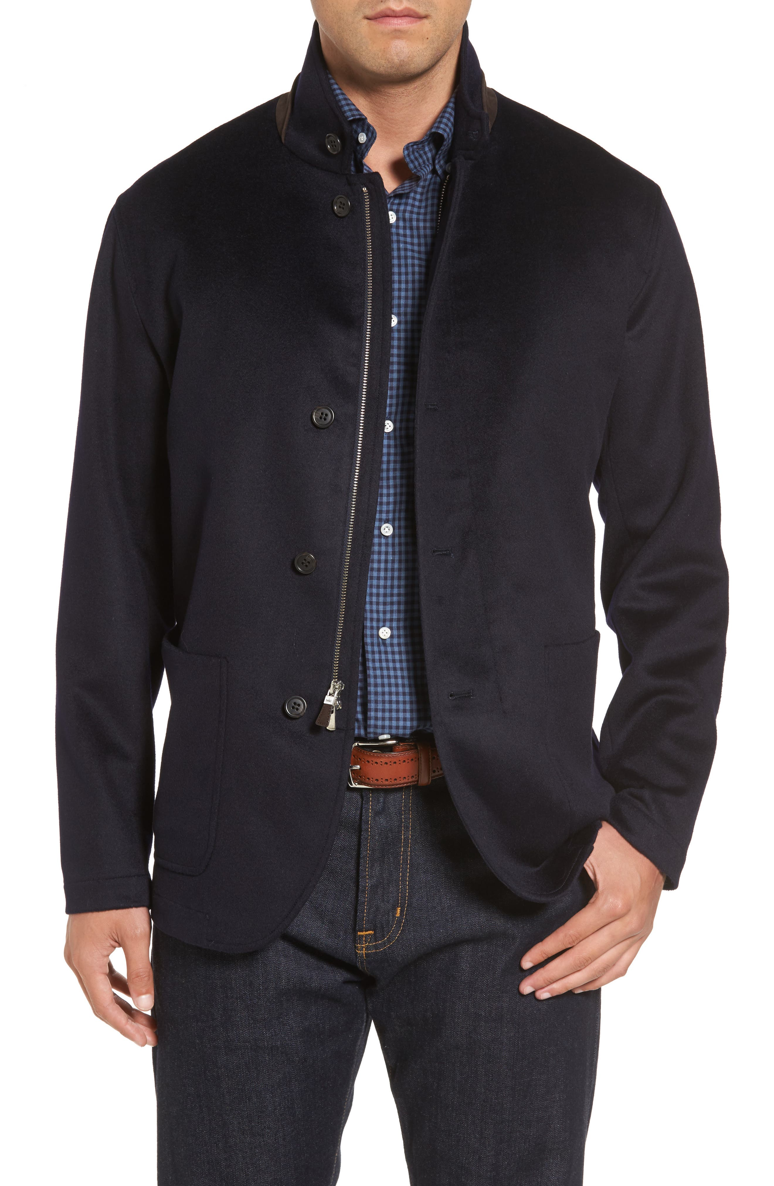 Crown Wool & Cashmere Jacket,                             Main thumbnail 1, color,                             Navy
