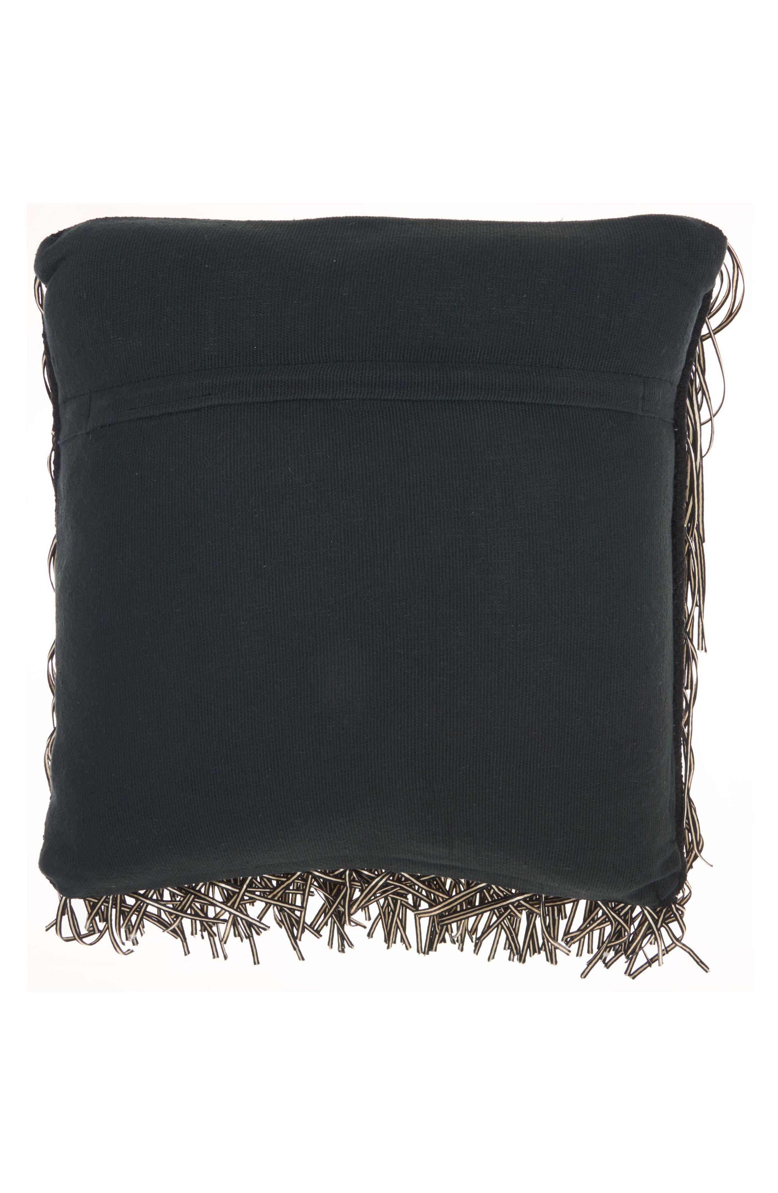 Metallic Fringe Pillow,                             Alternate thumbnail 2, color,                             Black