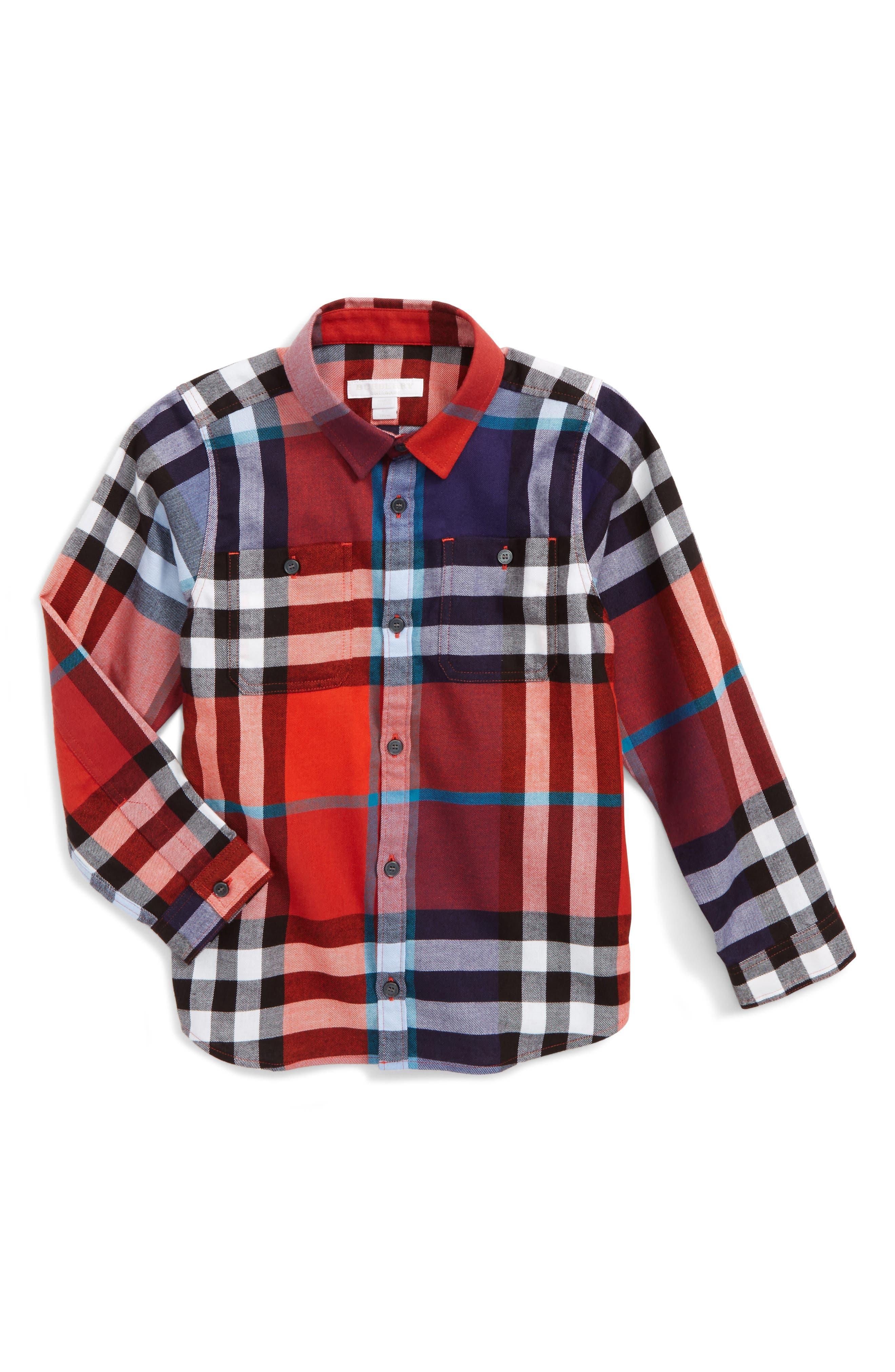 Mini Camber Check Shirt,                         Main,                         color, Orange Red