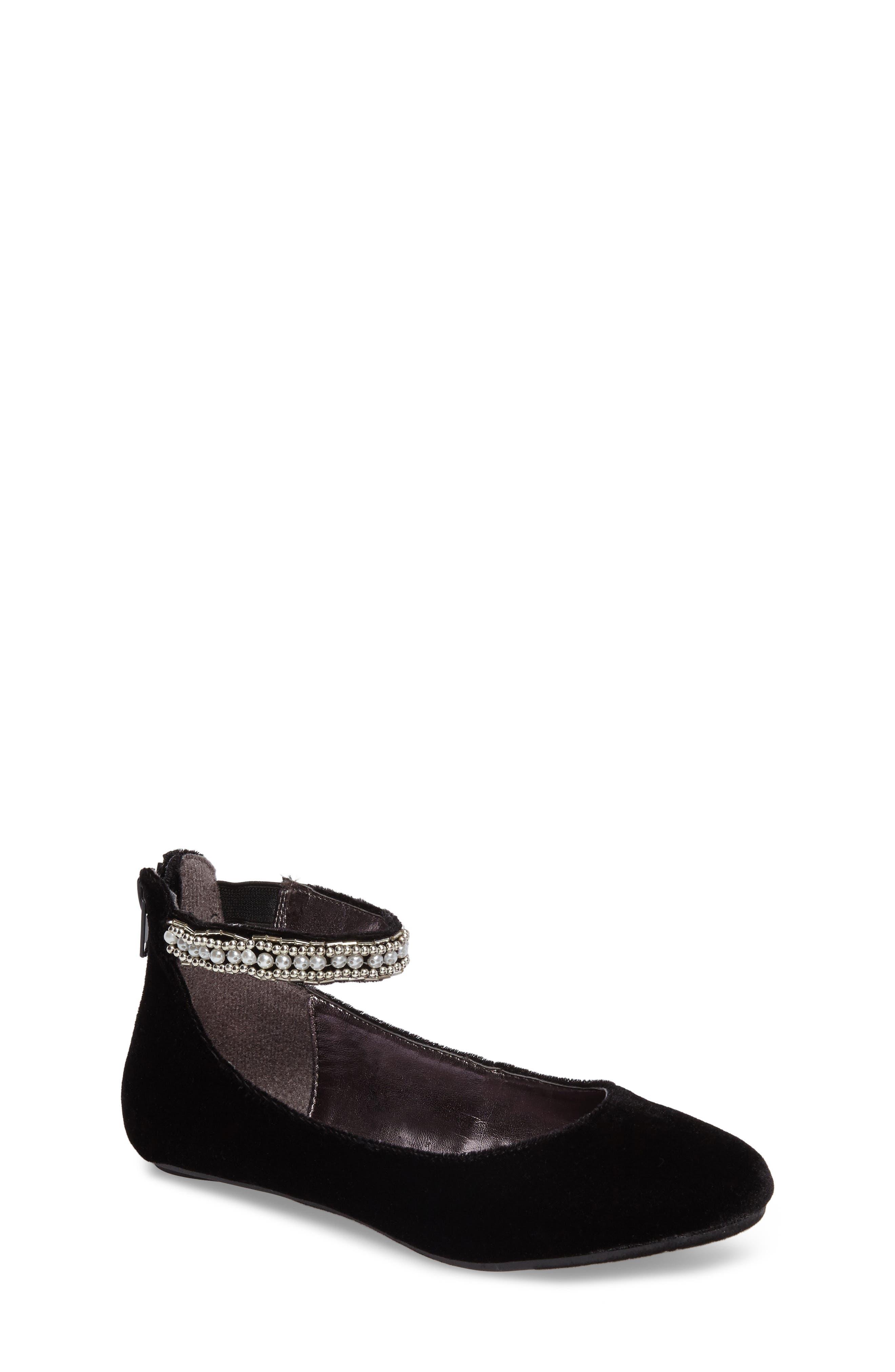 Zilerp Embellished Ankle Strap Flat,                         Main,                         color, Black Velvet
