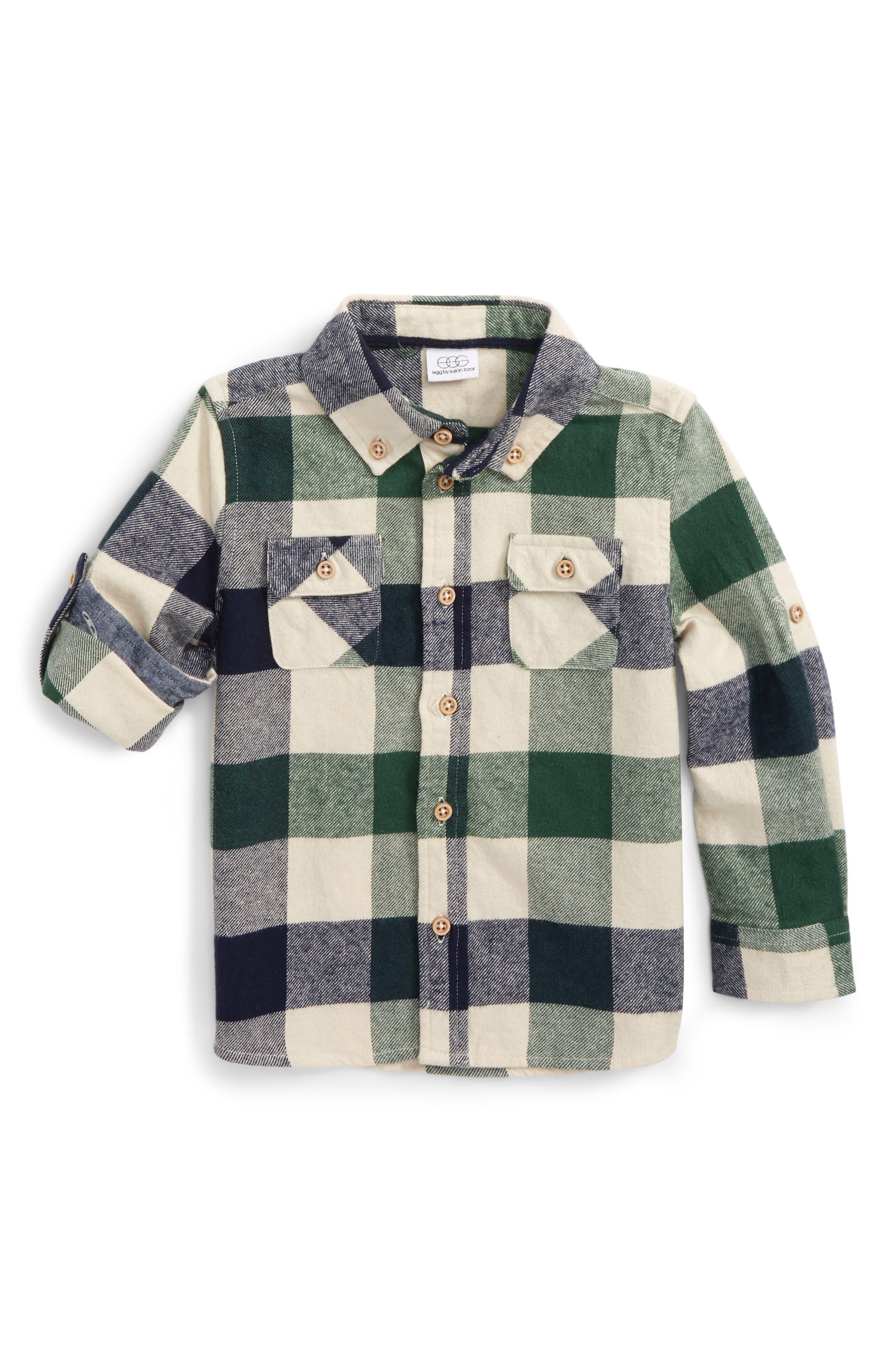egg by susan lazar Tyler Check Flannel Shirt (Baby Boys)
