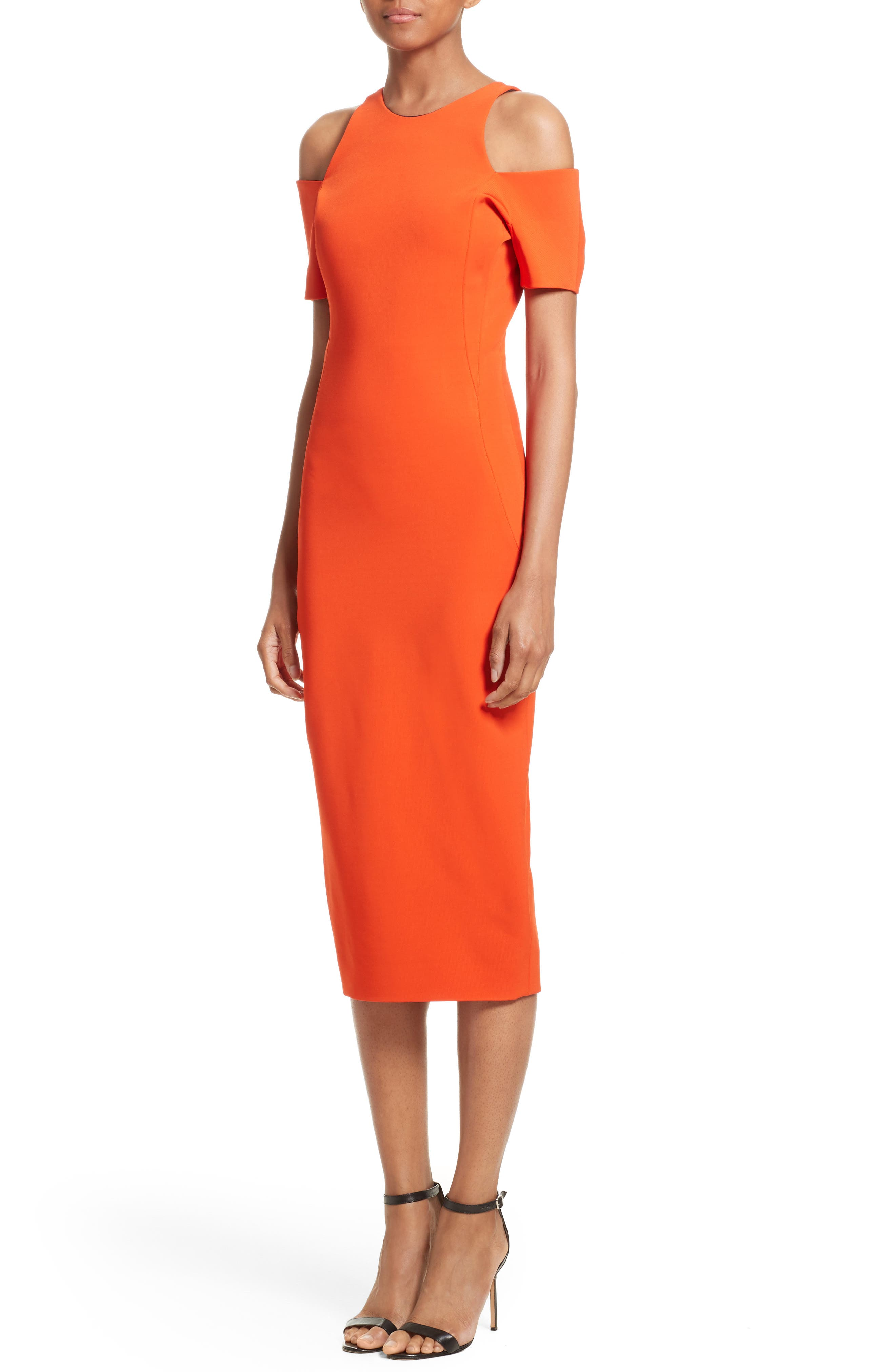 Cold Shoulder Sheath Dress,                             Alternate thumbnail 3, color,                             Sunset