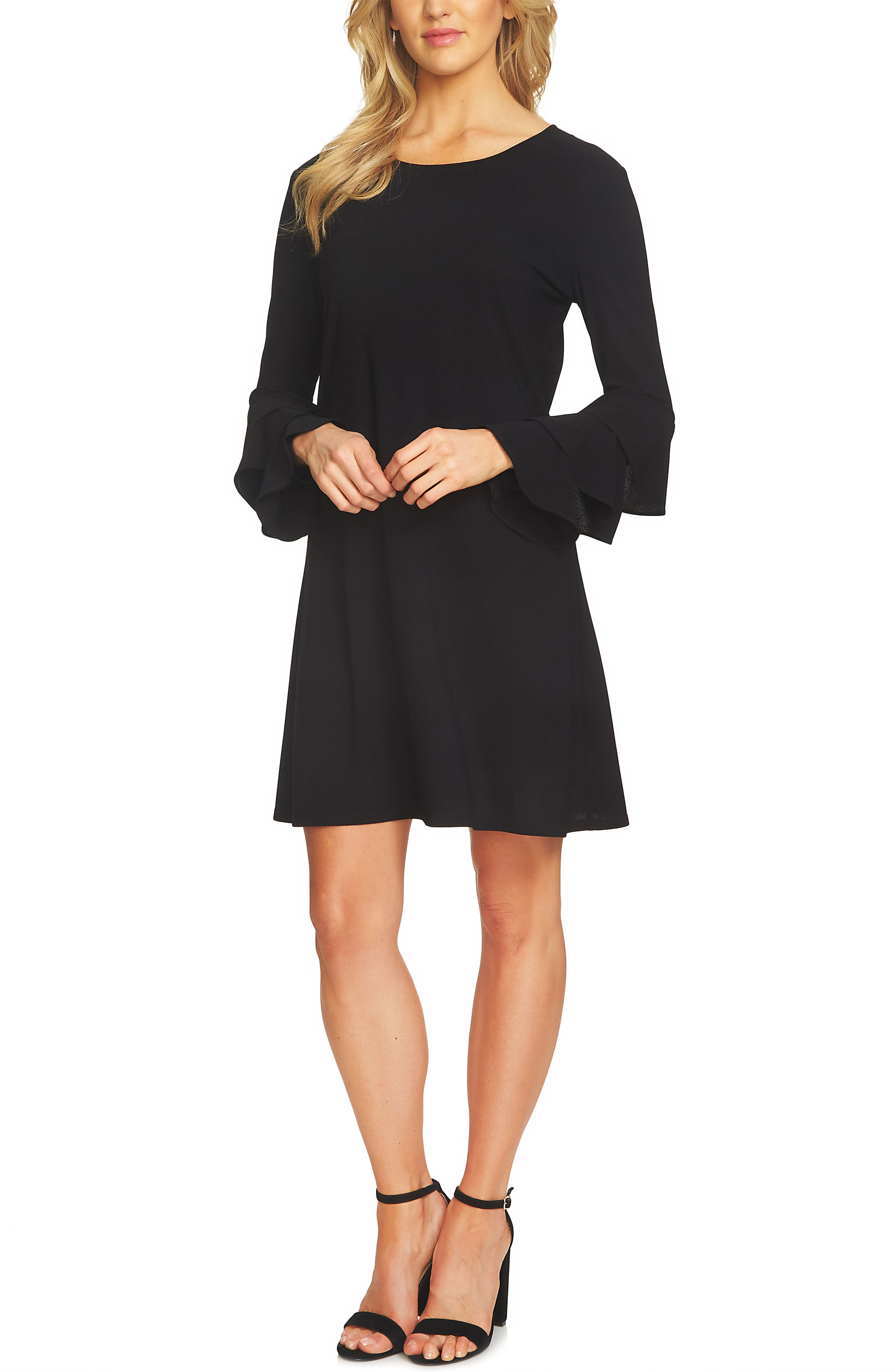 Ruffle Sleeve Dress,                         Main,                         color, Rich Black