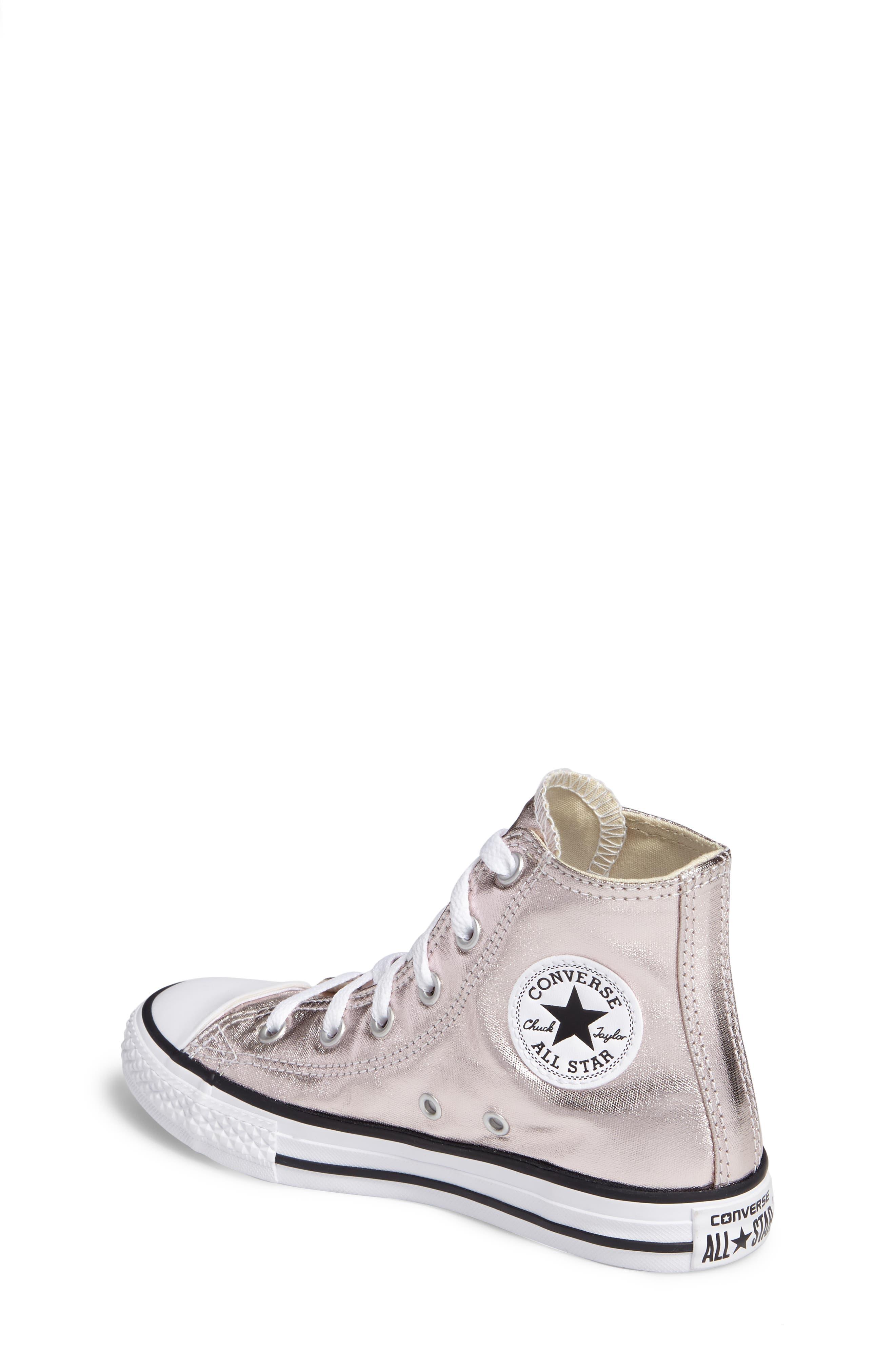 Chuck Taylor<sup>®</sup> All Star<sup>®</sup> Seasonal Metallic High Top Sneaker,                             Alternate thumbnail 2, color,                             Rose Quartz/ White Canvas