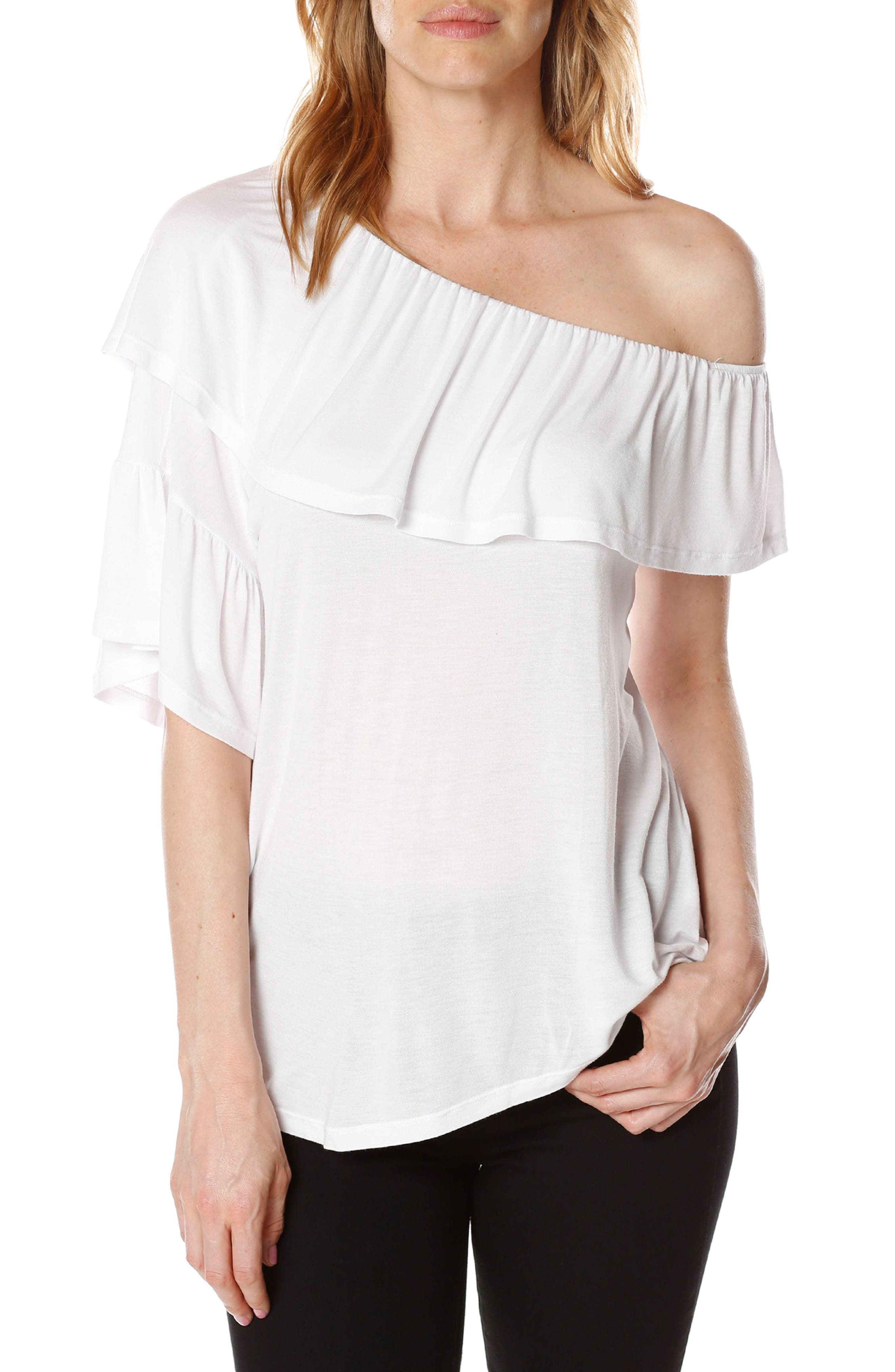Pax One-Shoulder Top,                         Main,                         color, Optic White