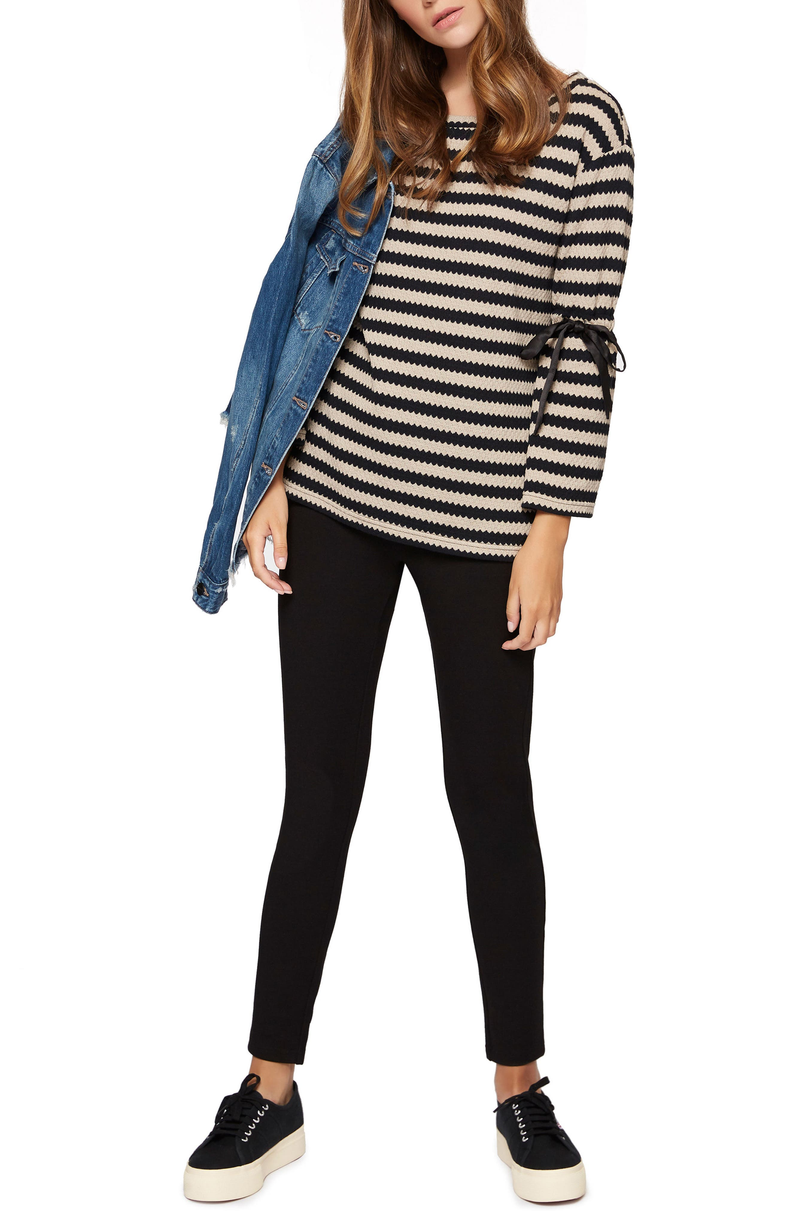 Alternate Image 2  - Sanctuary Tierney Stripe Tie Sleeve Sweatshirt (Regular & Petite)
