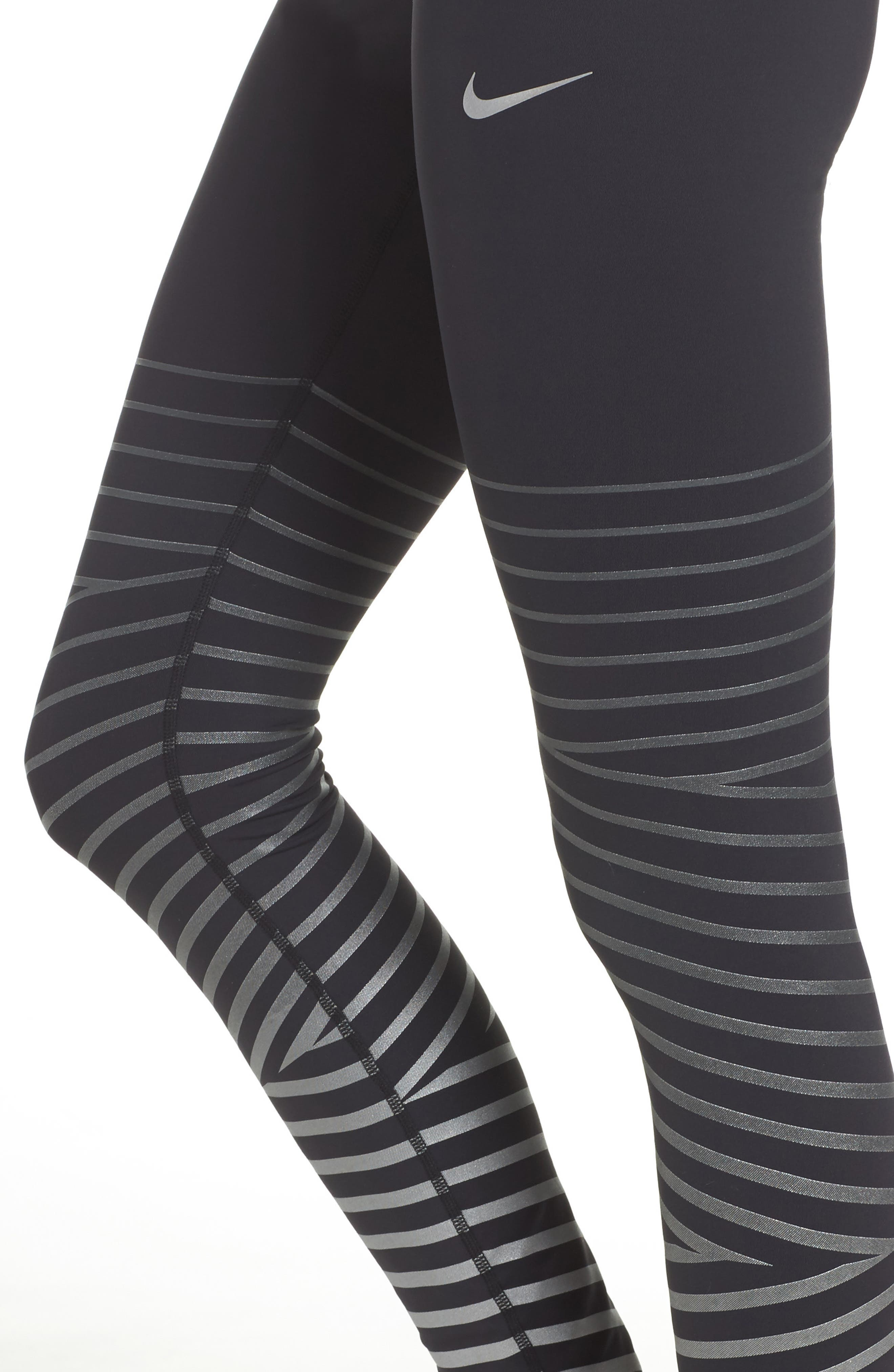 Power Epic Lux Flash Running Tights,                             Alternate thumbnail 4, color,                             Black/ Anthracite