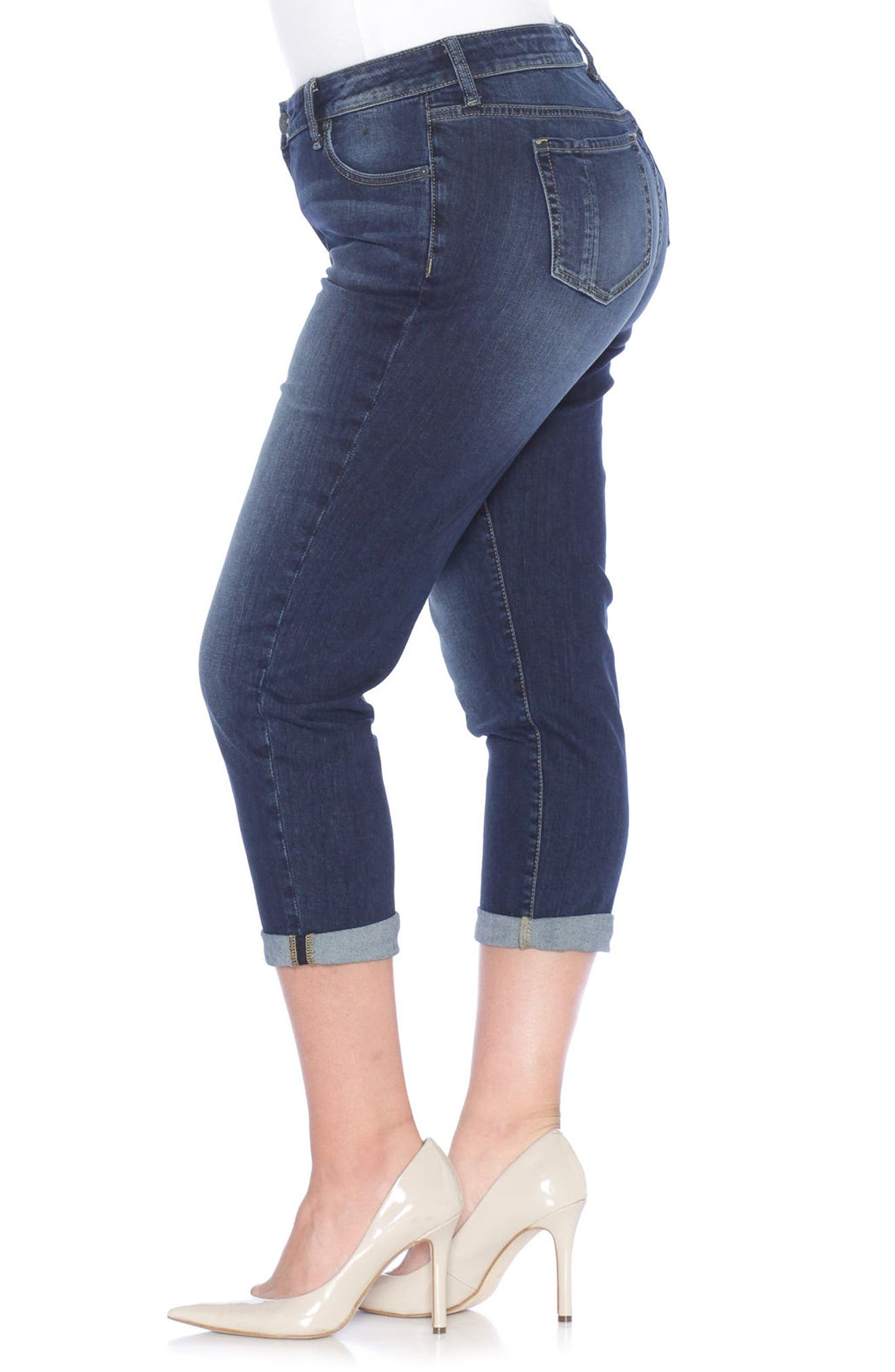 Rolled Crop Boyfriend Jeans,                             Alternate thumbnail 4, color,                             Kelly