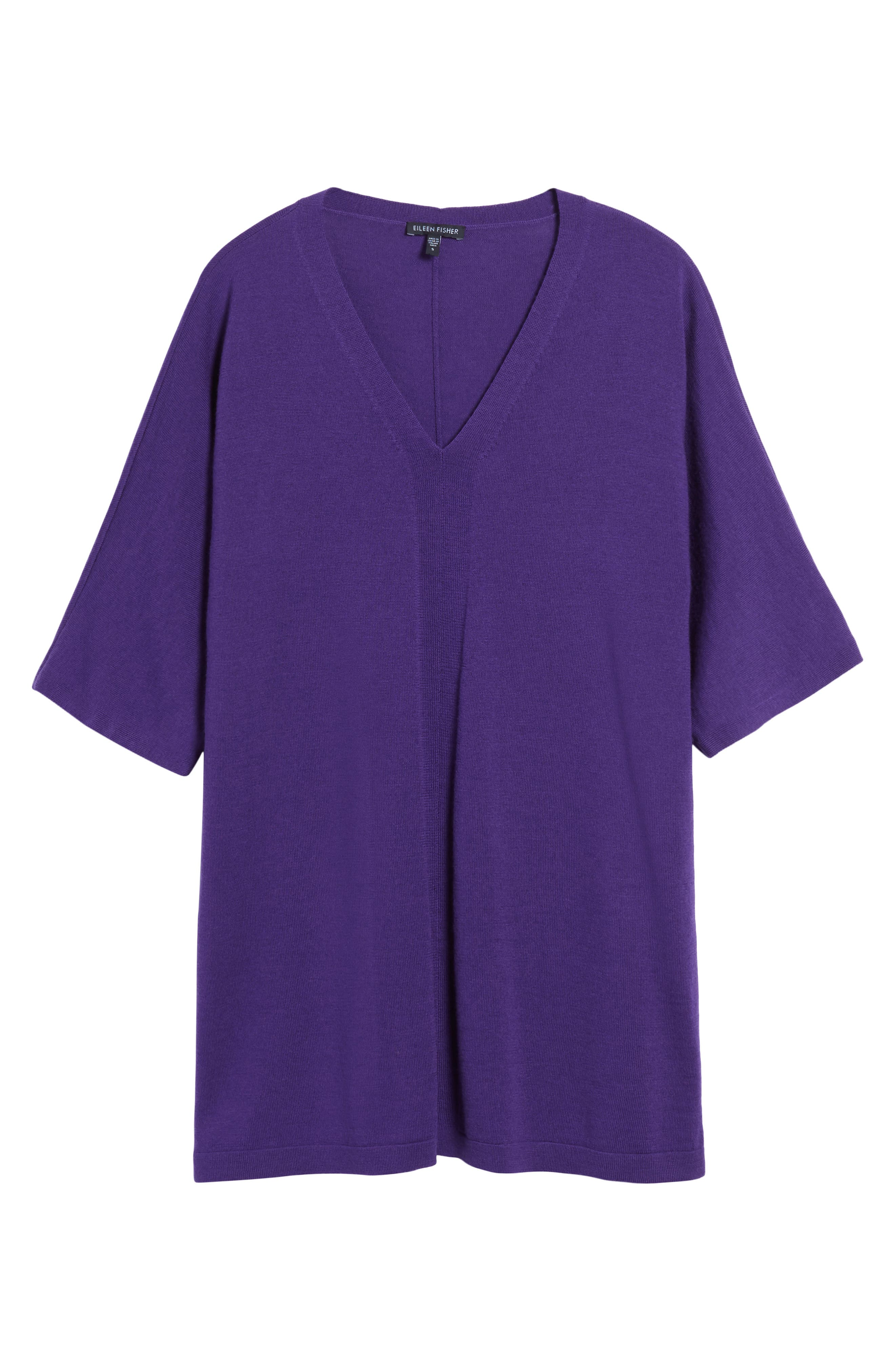 Merino Wool Tunic Sweater,                             Alternate thumbnail 6, color,                             Purple Rain