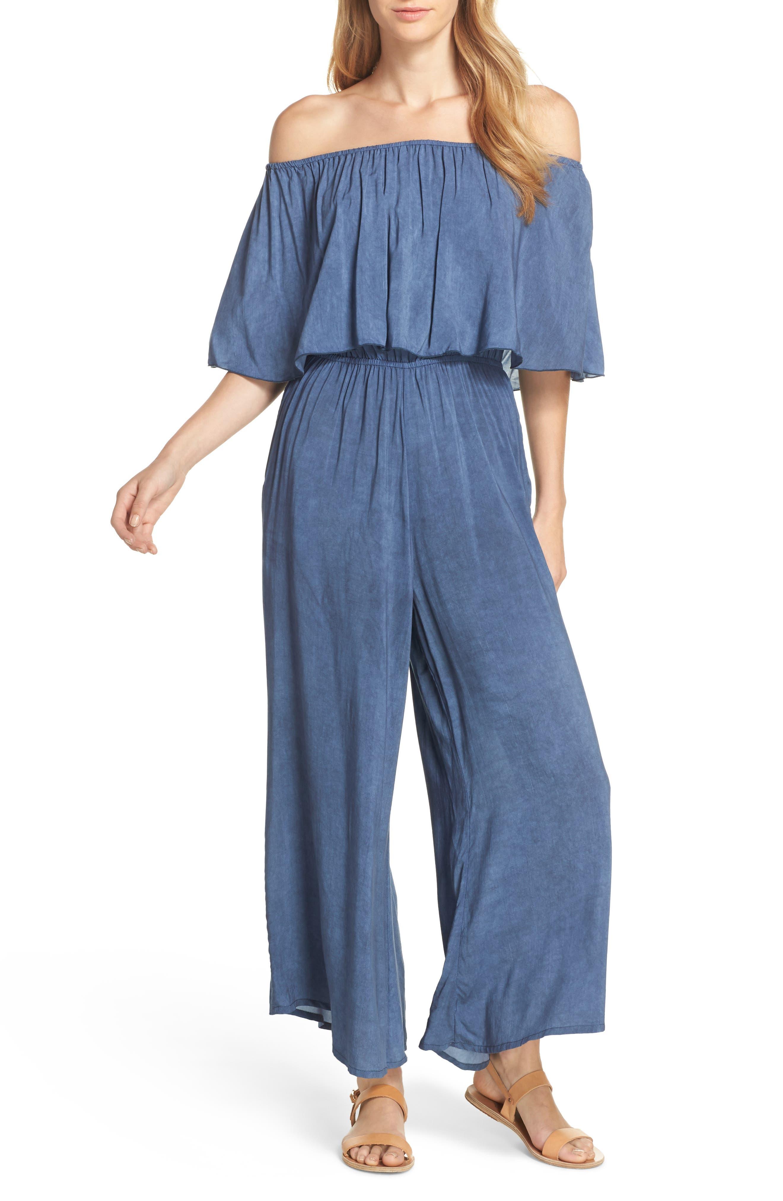 Off the Shoulder Cover-Up Jumpsuit,                         Main,                         color, Indigo