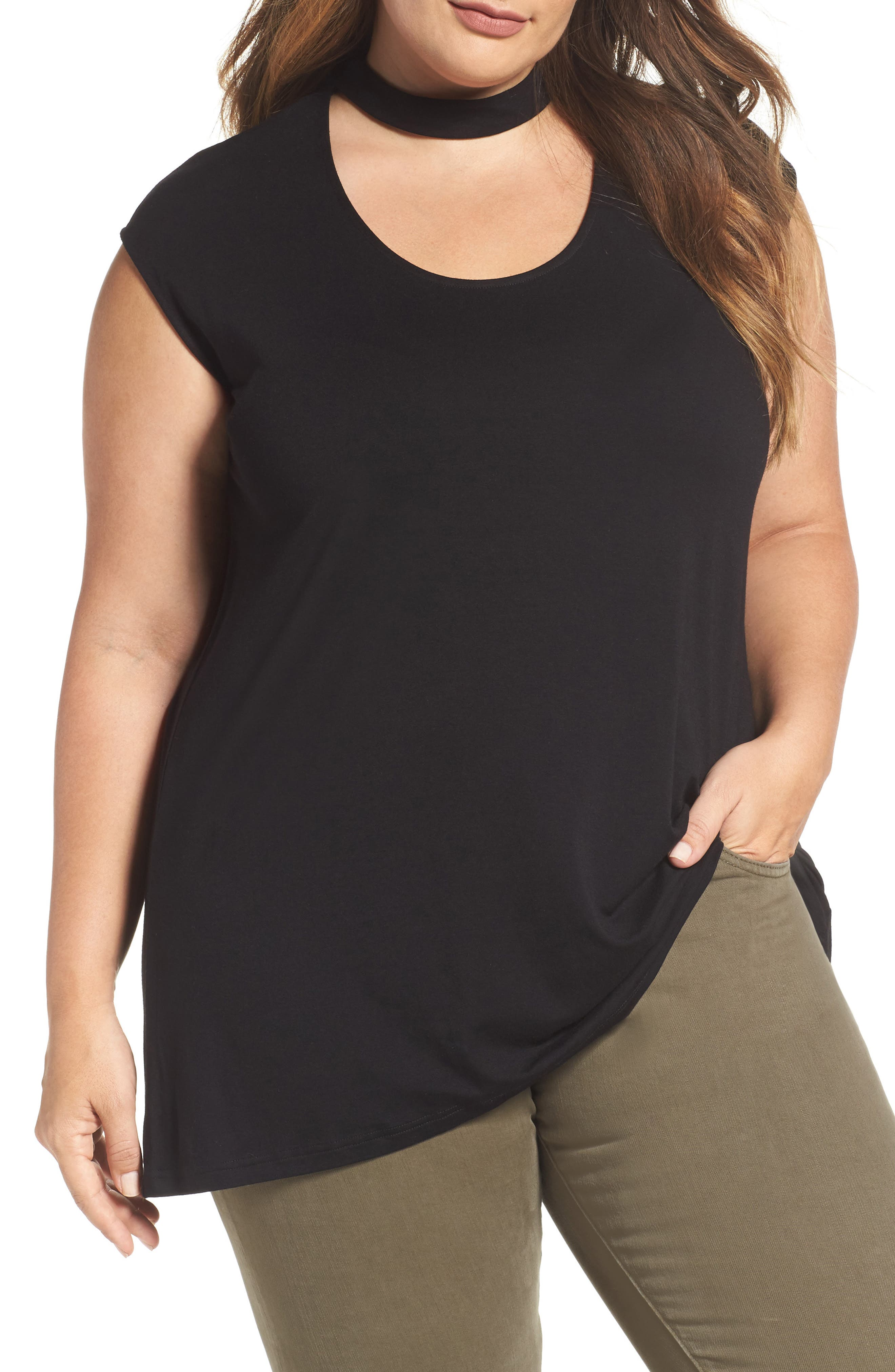 Main Image - Vince Camuto Choker Neck High/Low Top (Plus Size)
