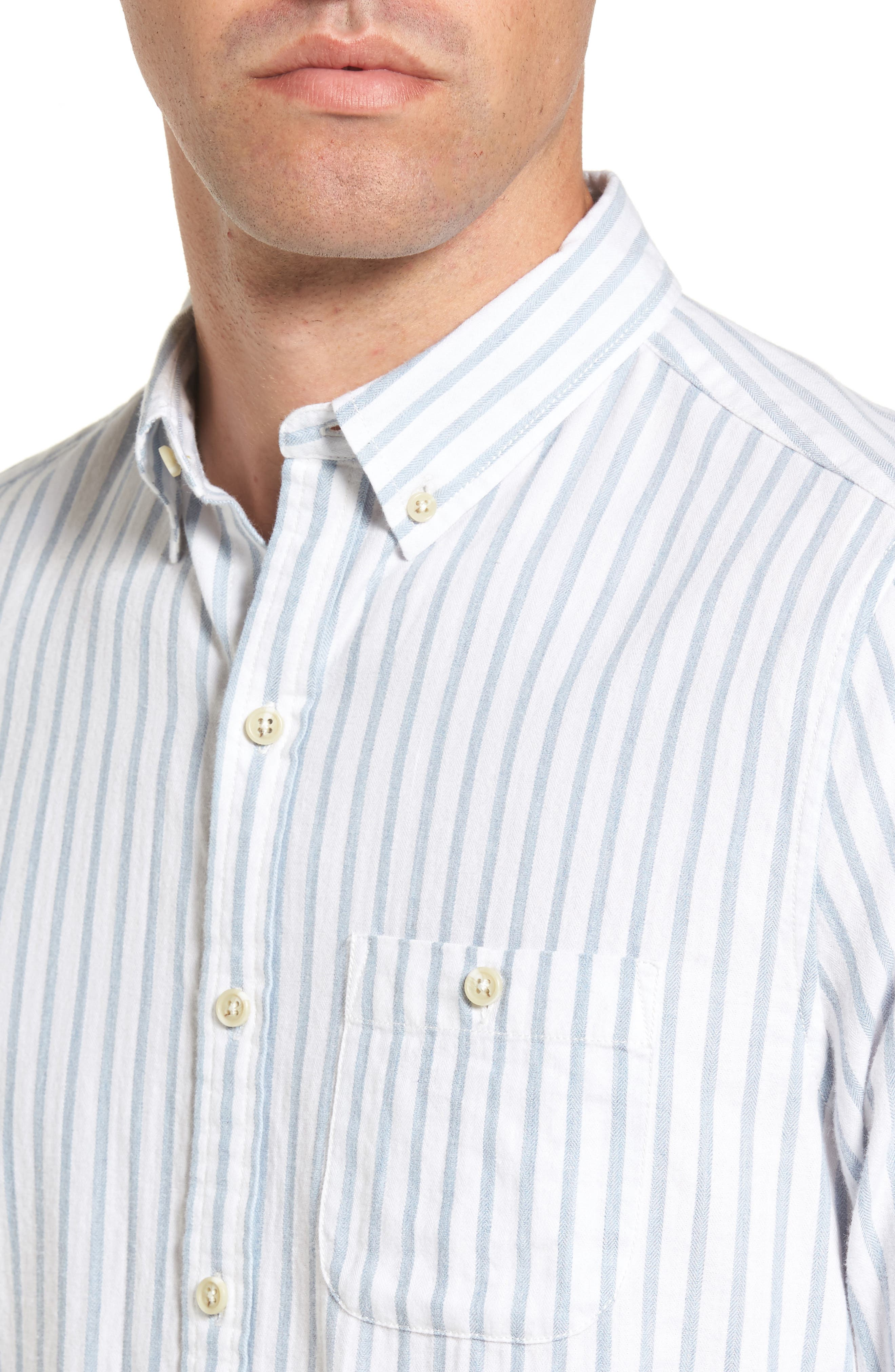 Alternate Image 4  - Michael Bastian Trim Fit Vertical Stripe Sport Shirt