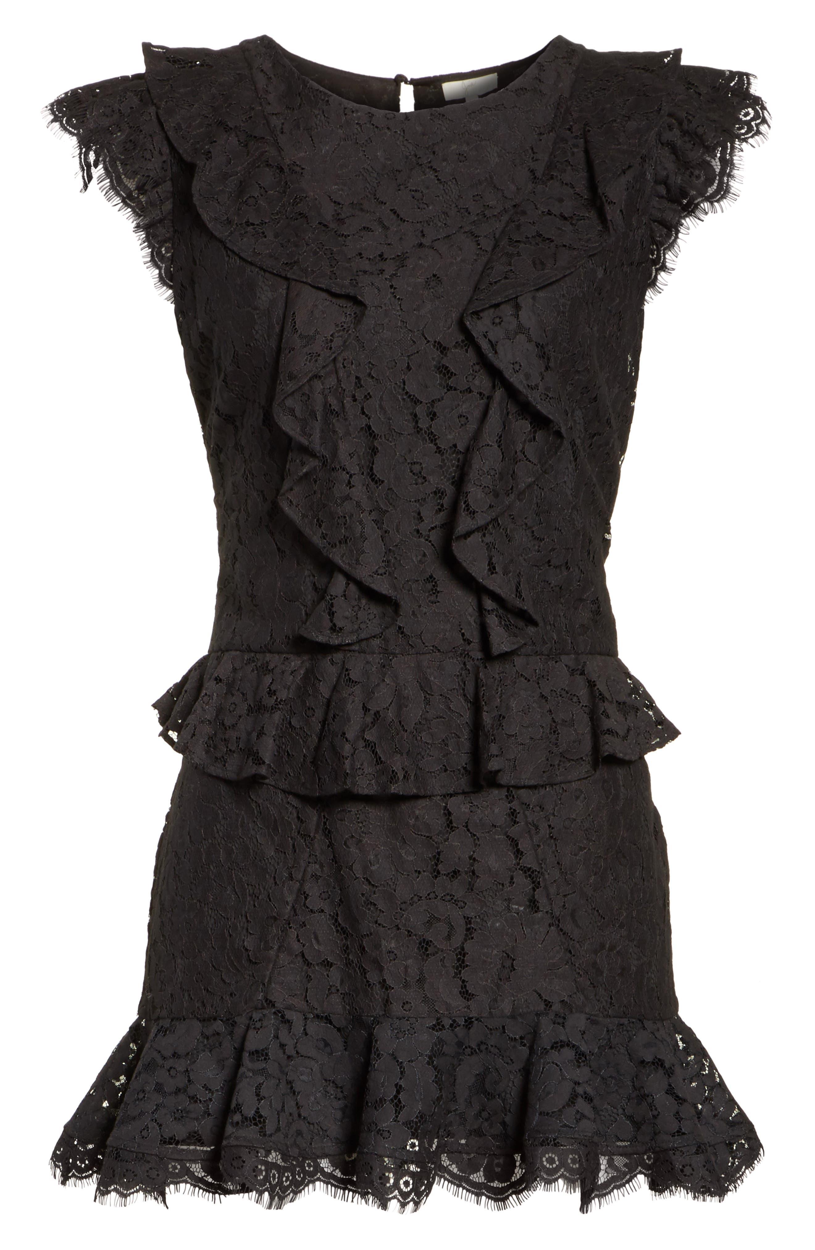Acostas Ruffle & Lace Dress,                             Alternate thumbnail 6, color,                             Caviar