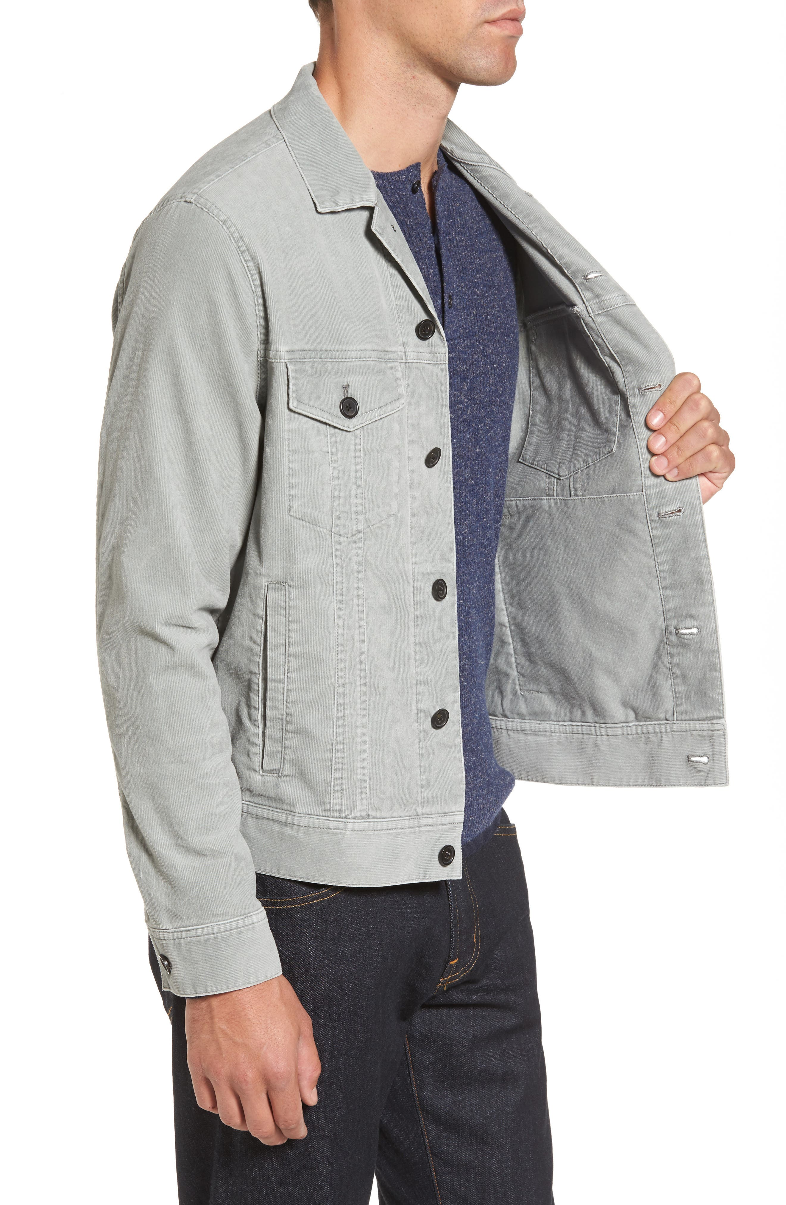 Pigment Dyed Stretch Corduroy Jacket,                             Alternate thumbnail 3, color,                             Green Moss