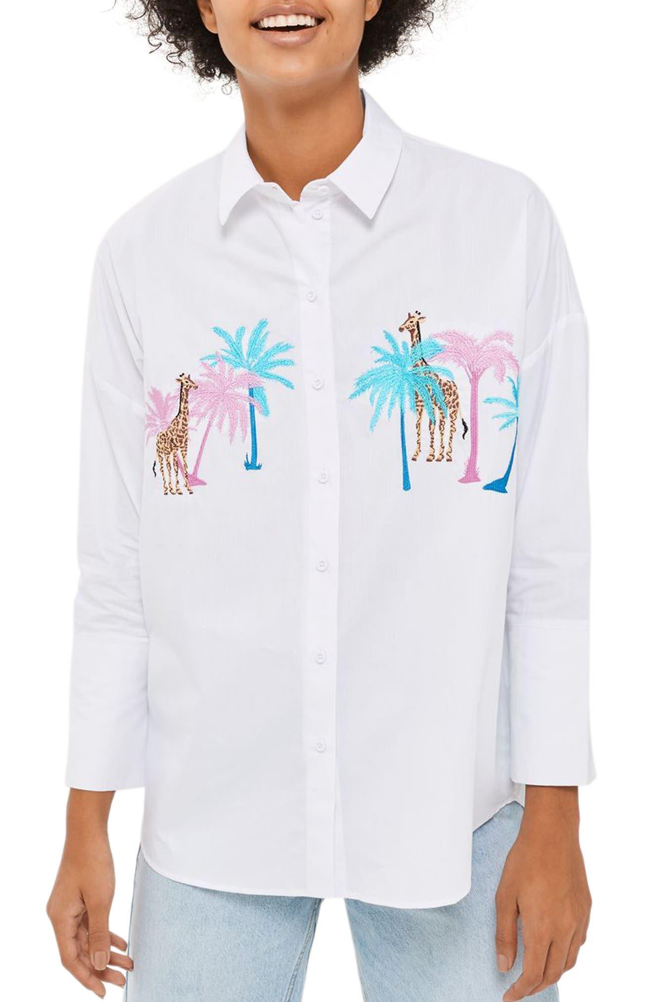 Topshop Palm & Giraffe Embroidered Shirt