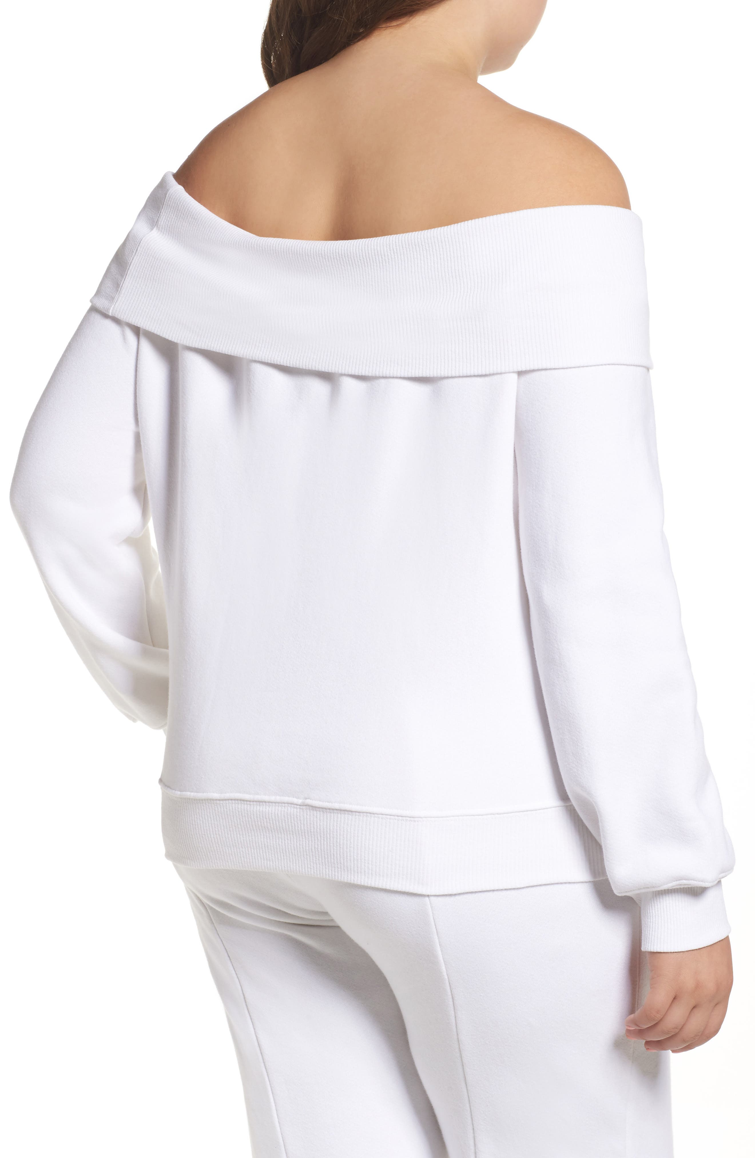 Alternate Image 6  - Good American Good Sweats The Cold Shoulder Sweatshirt (Regular & Plus Size)