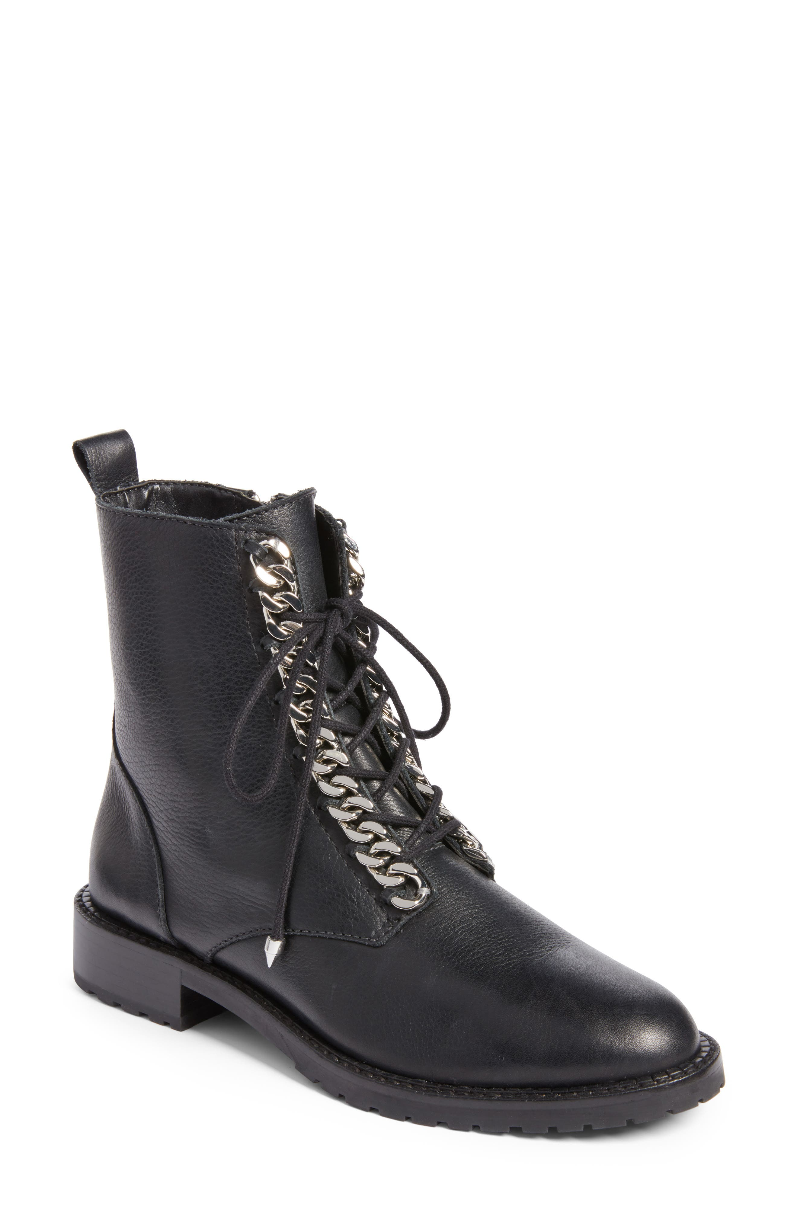 Gian Combat Boot,                         Main,                         color, Black Leather