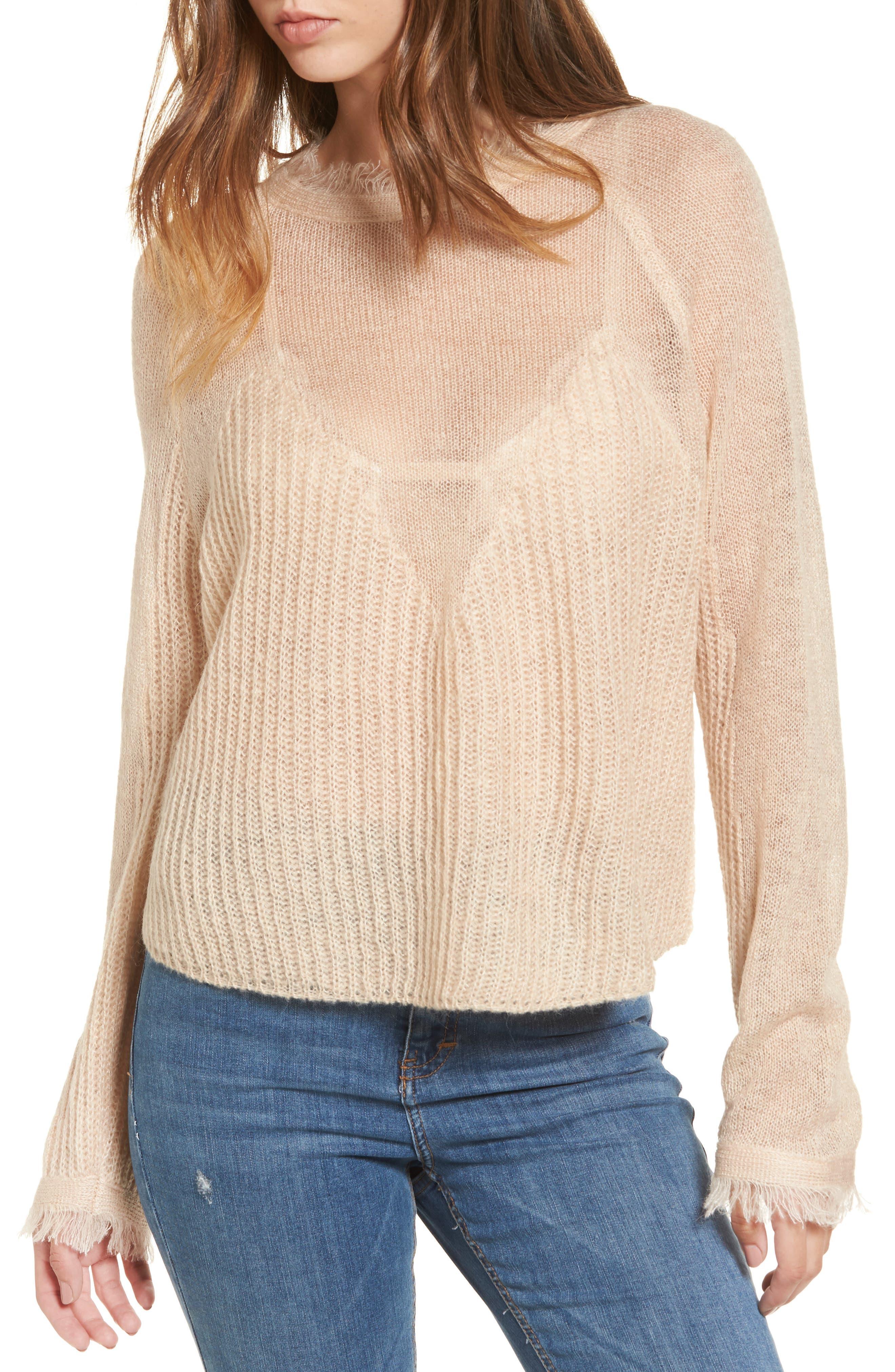 Moon River Sheer Knit Raglan Sweater