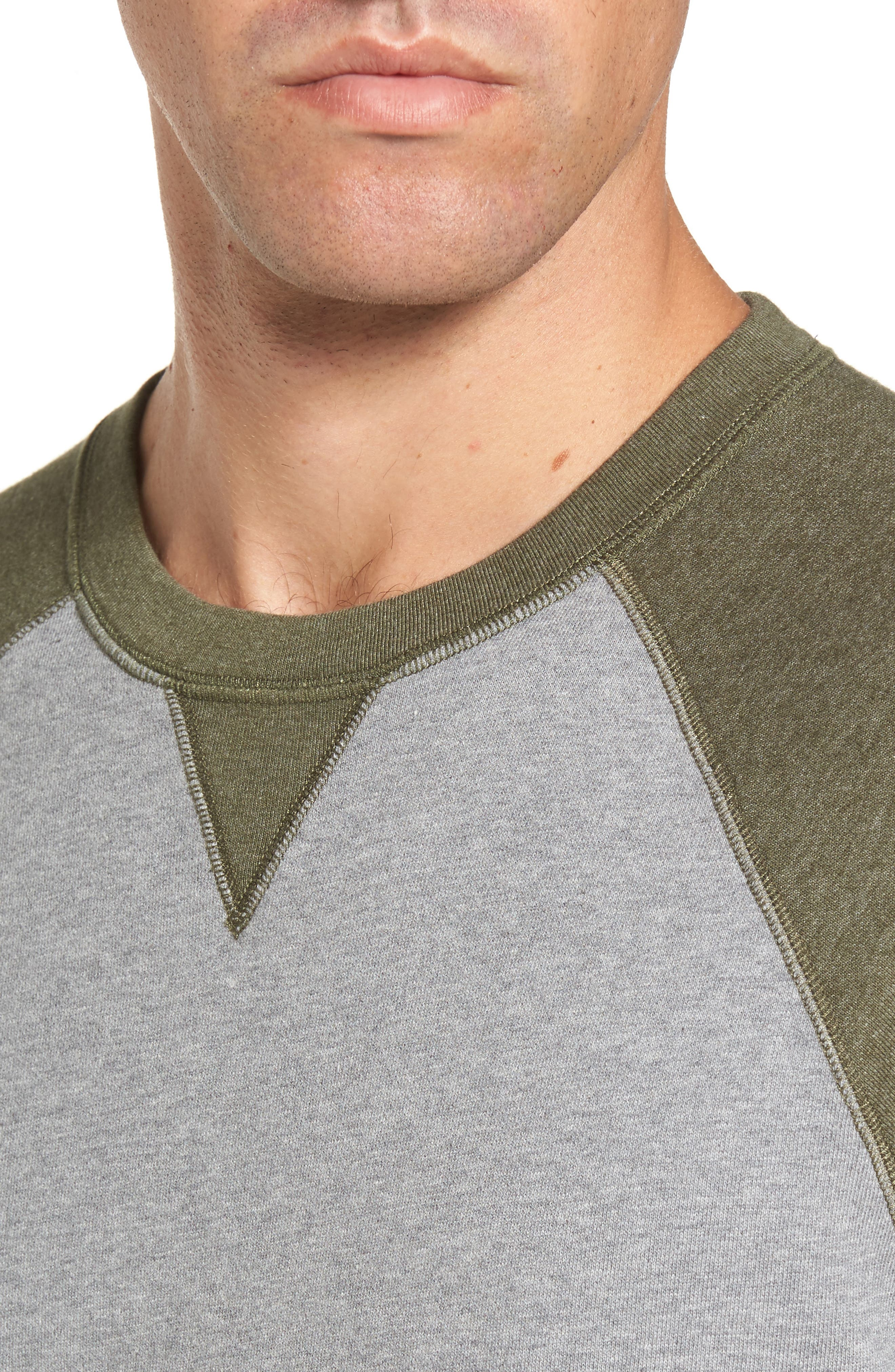 Colorblock French Terry Sweatshirt,                             Alternate thumbnail 4, color,                             Med Grey Army Heather