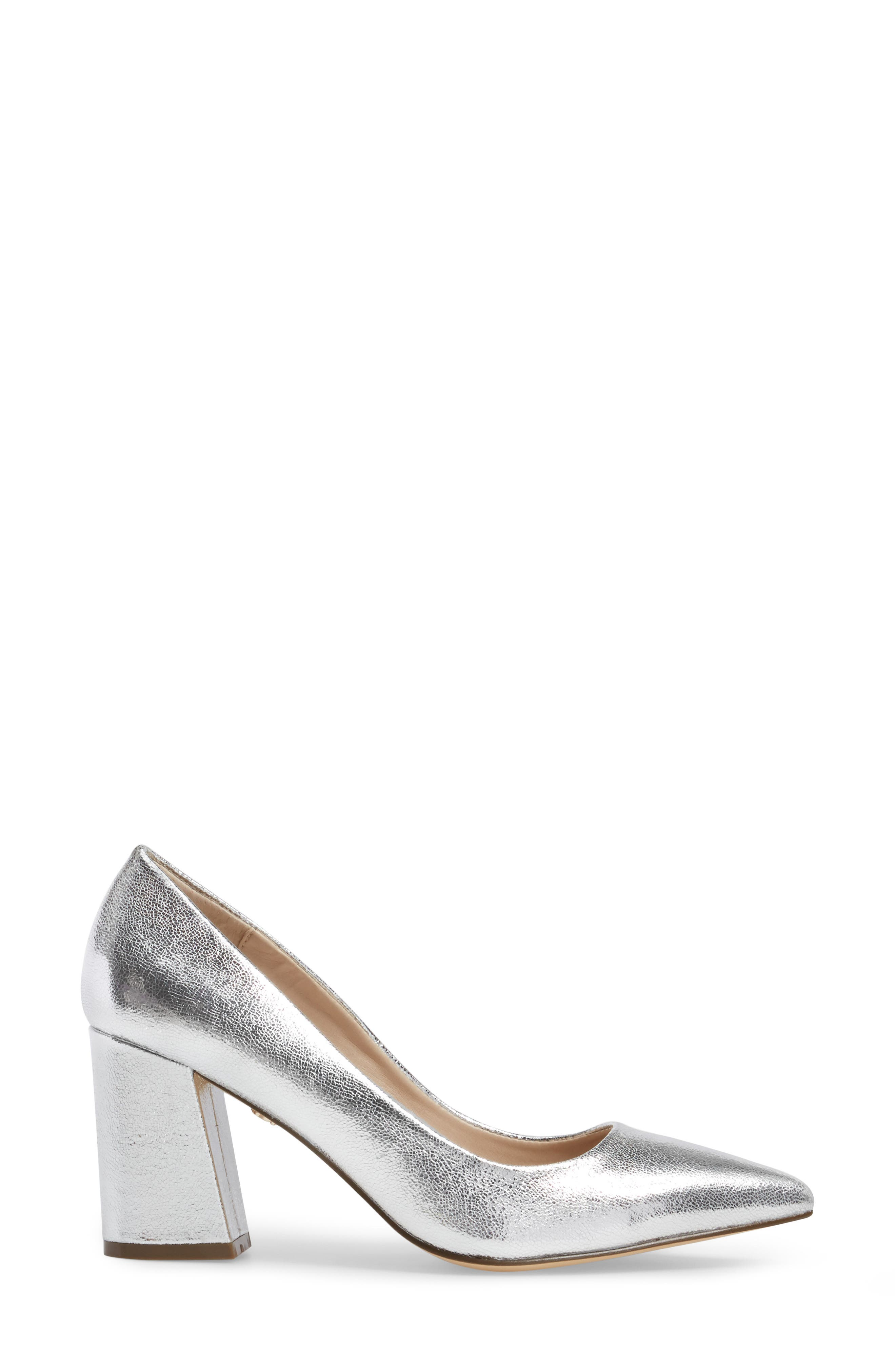 Tinsley Pointy Toe Pump,                             Alternate thumbnail 3, color,                             Silver Fabric
