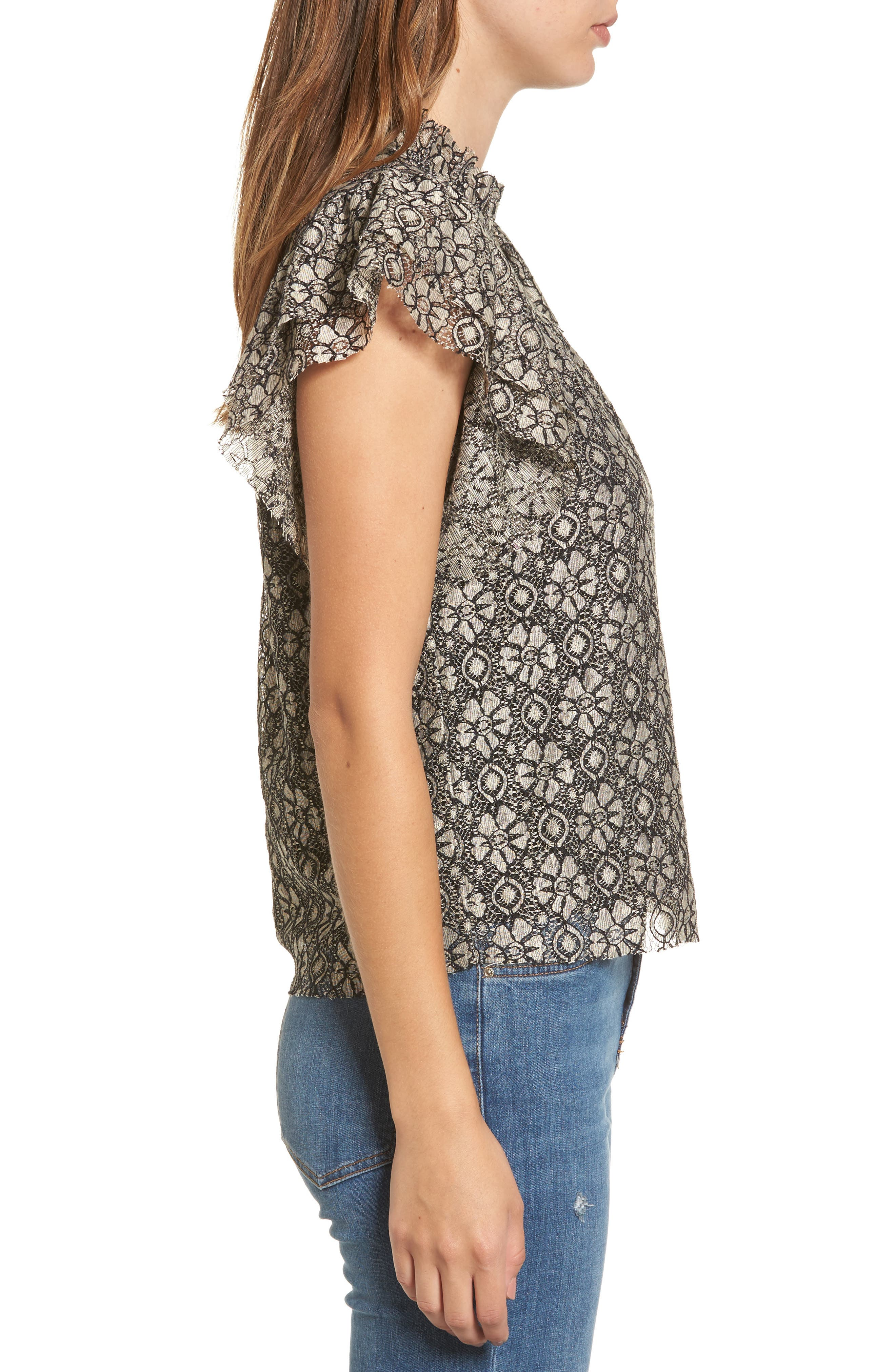 Ruffle Lace Top,                             Alternate thumbnail 3, color,                             Taupe/ Black
