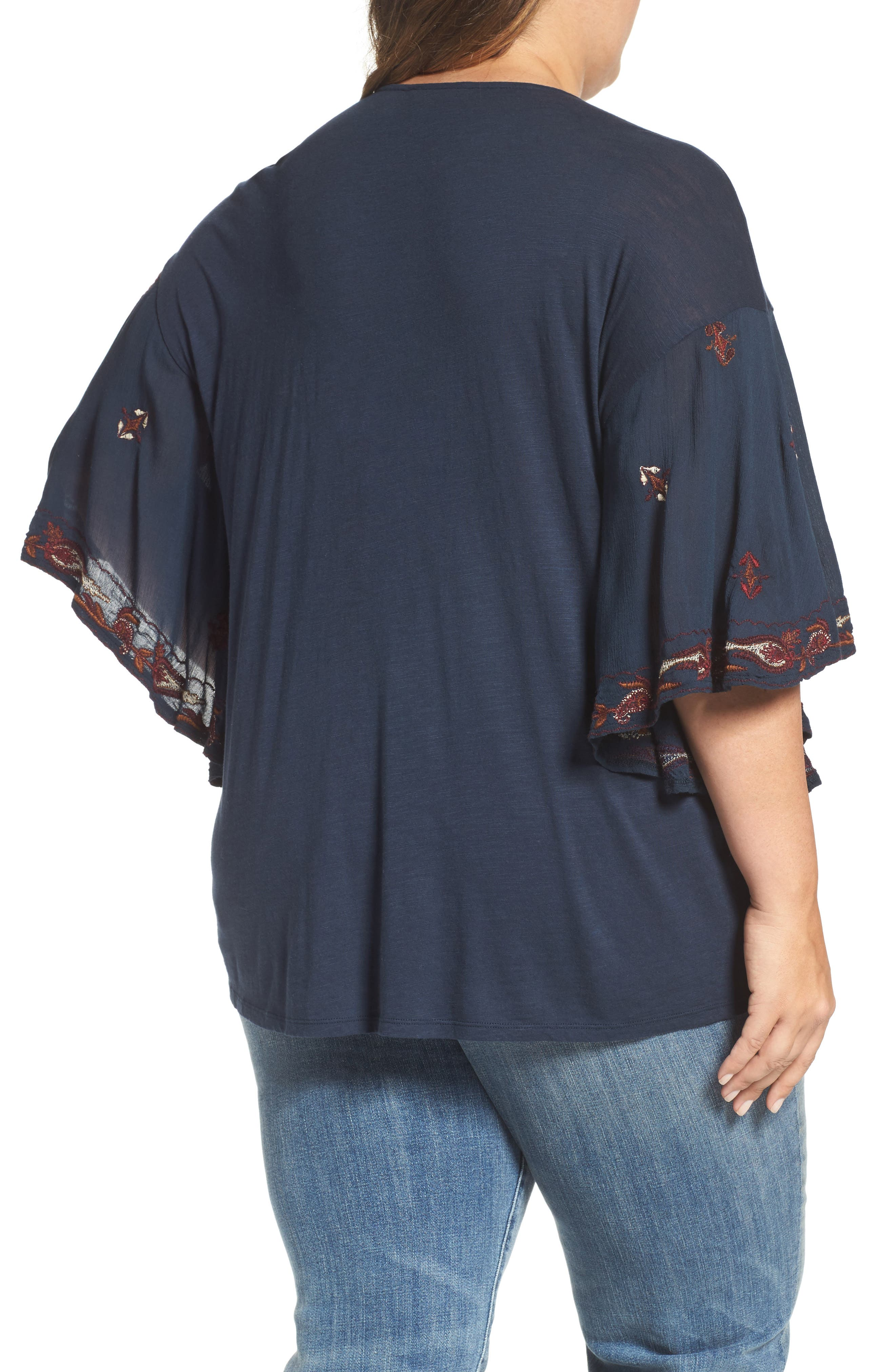 Lace Up Embroidered Peasant Top,                             Alternate thumbnail 2, color,                             Blueberry